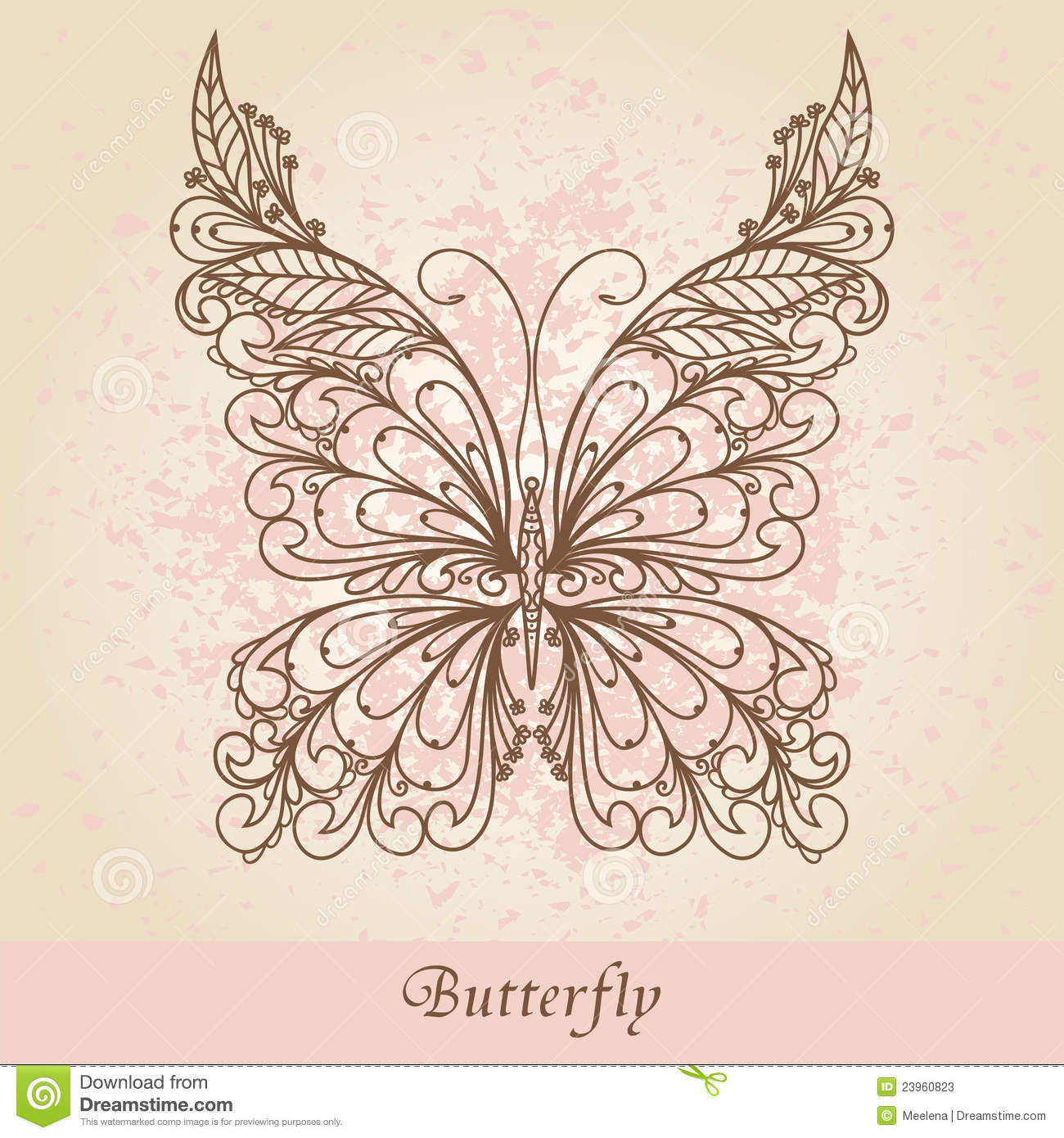 Hand drawn ornate butterfly stock photos image 23960823