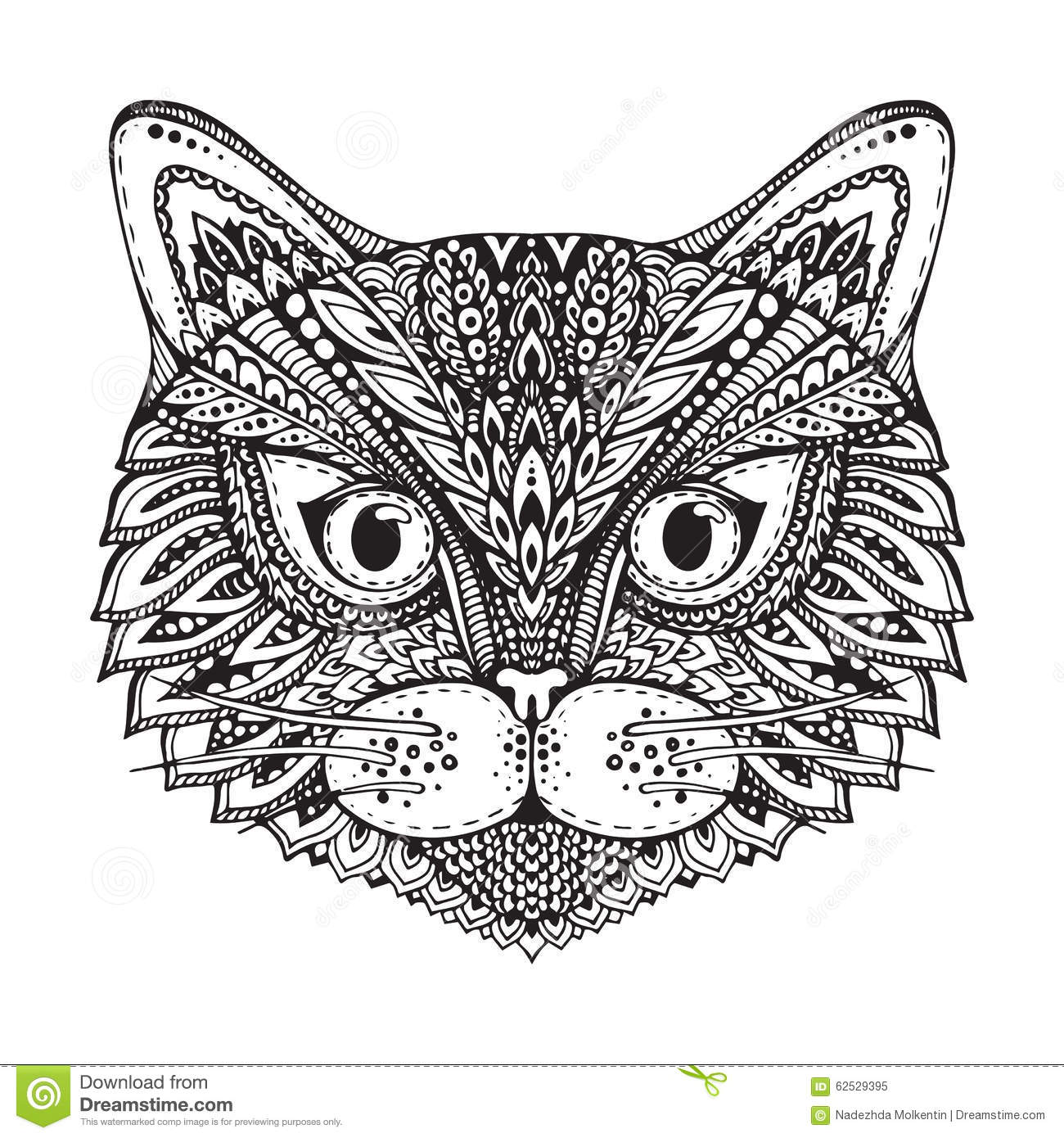 Hand Drawn Ornate Doodle Graphic Black And White Cat Face