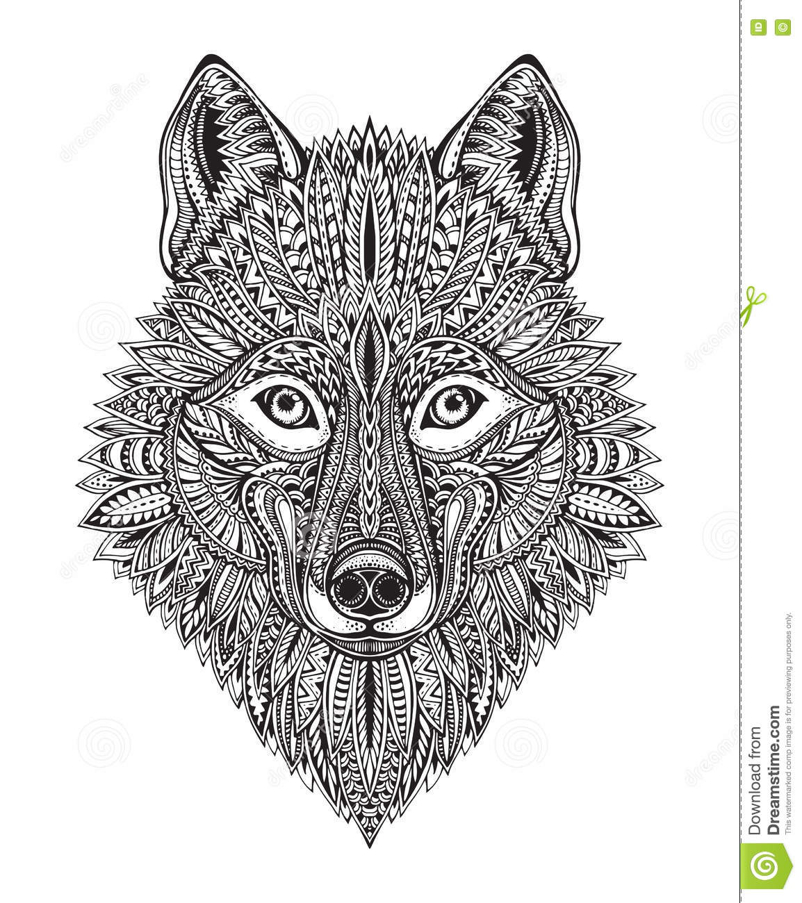 Hand Drawn Ornate Doodle Graphic Black And White Wolf Face Stock