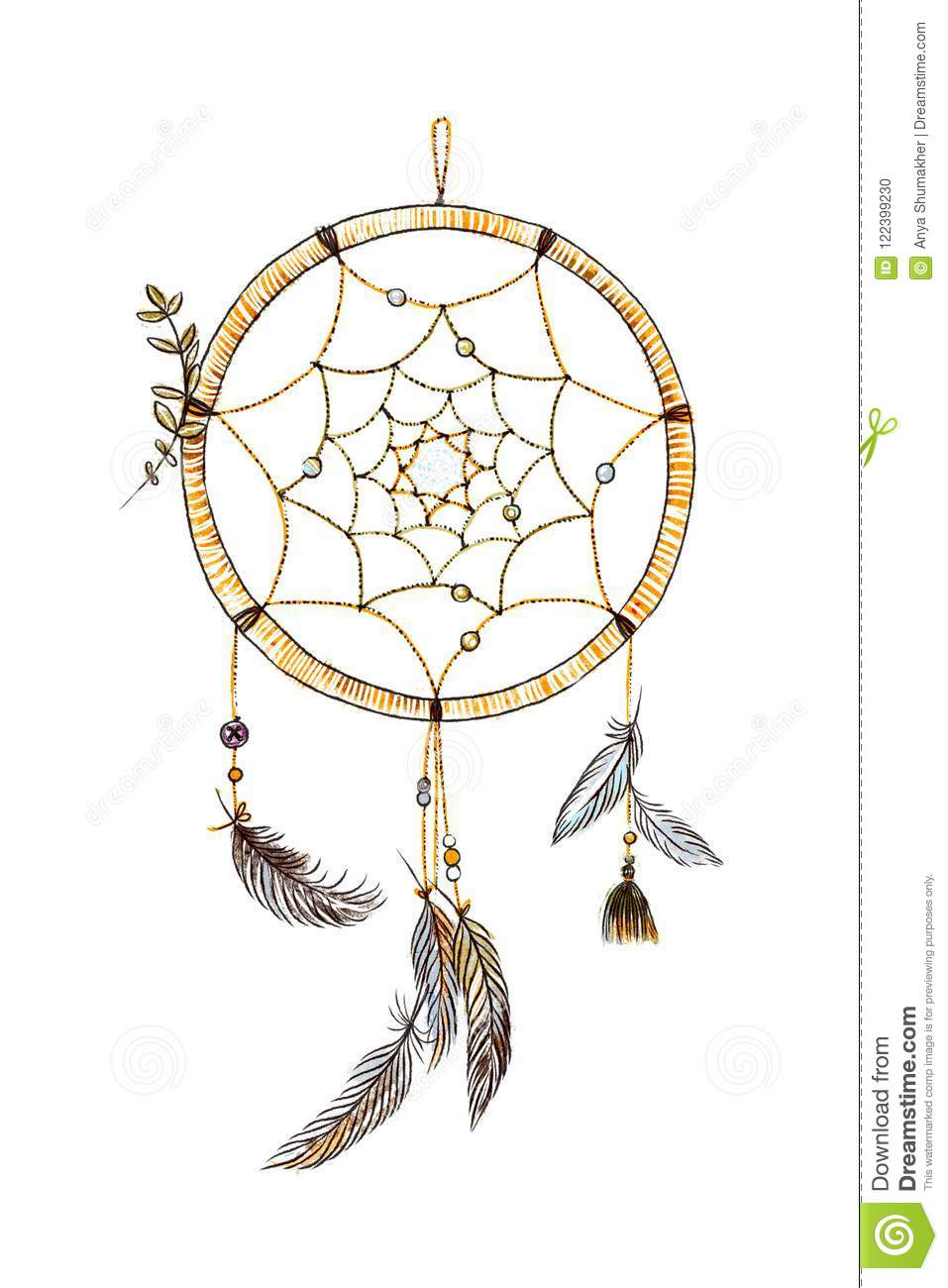 - Hand Drawn Ornate Dream Catcher With Feathers In Soft Trendy