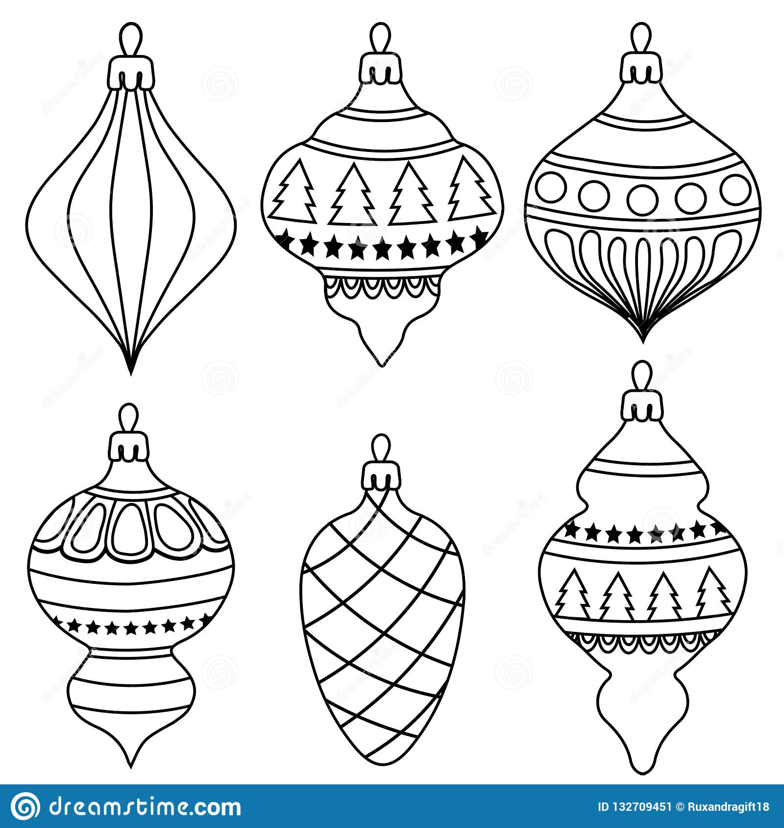 Hand Drawn Outline Christmas Balls Collection For Coloring Stock