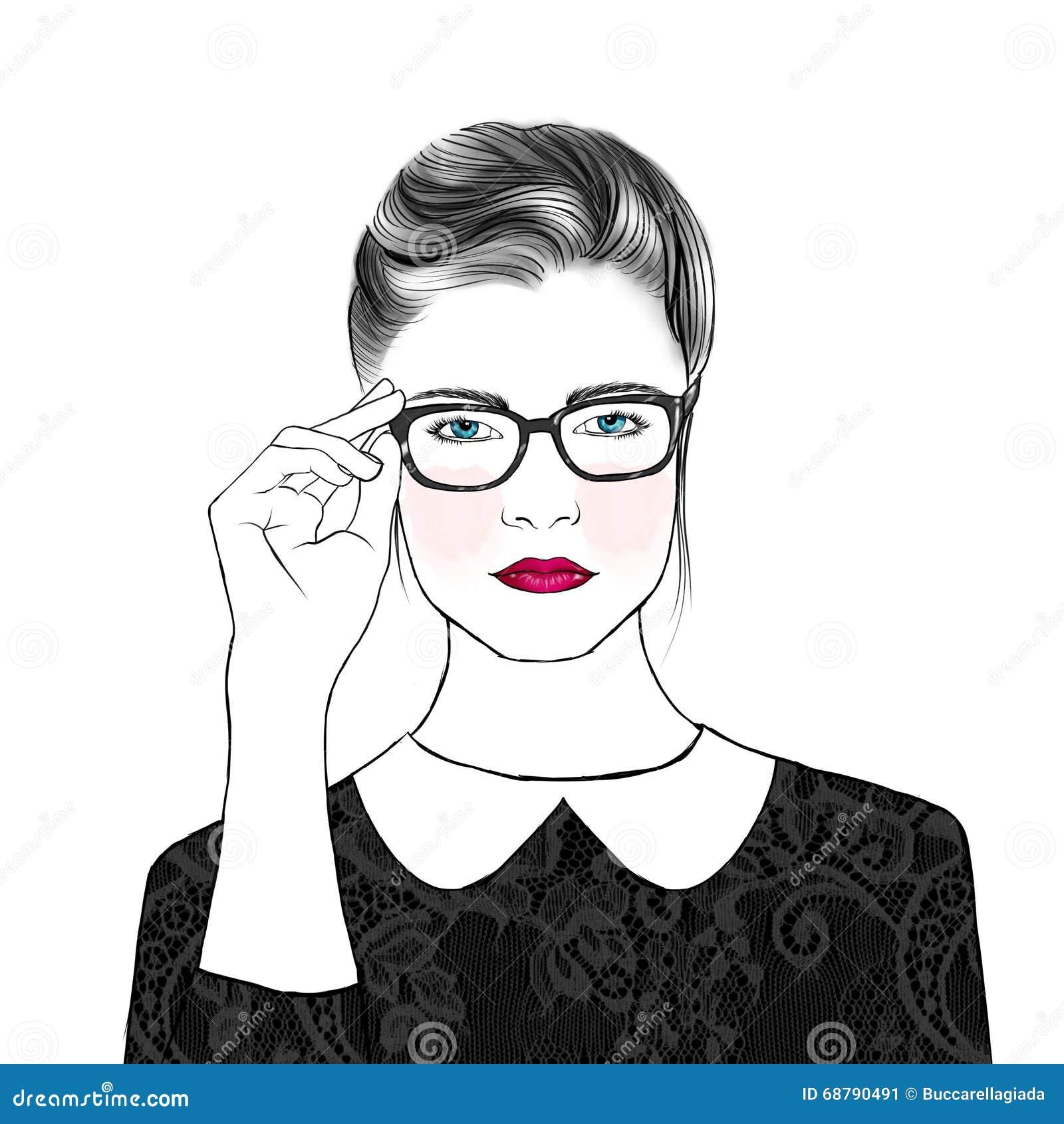 hand drawn outline portrait elegant girl wearing glasses