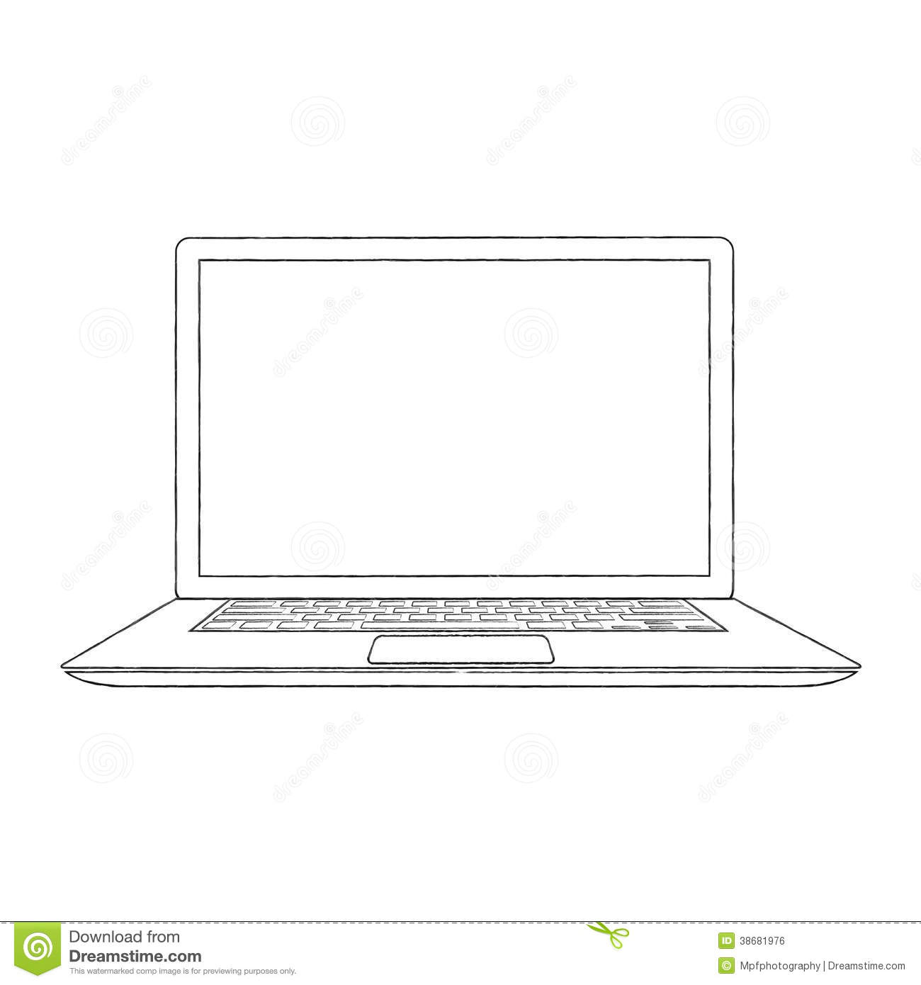 Hand Drawn Outlined Laptop Vector Illustration Stock