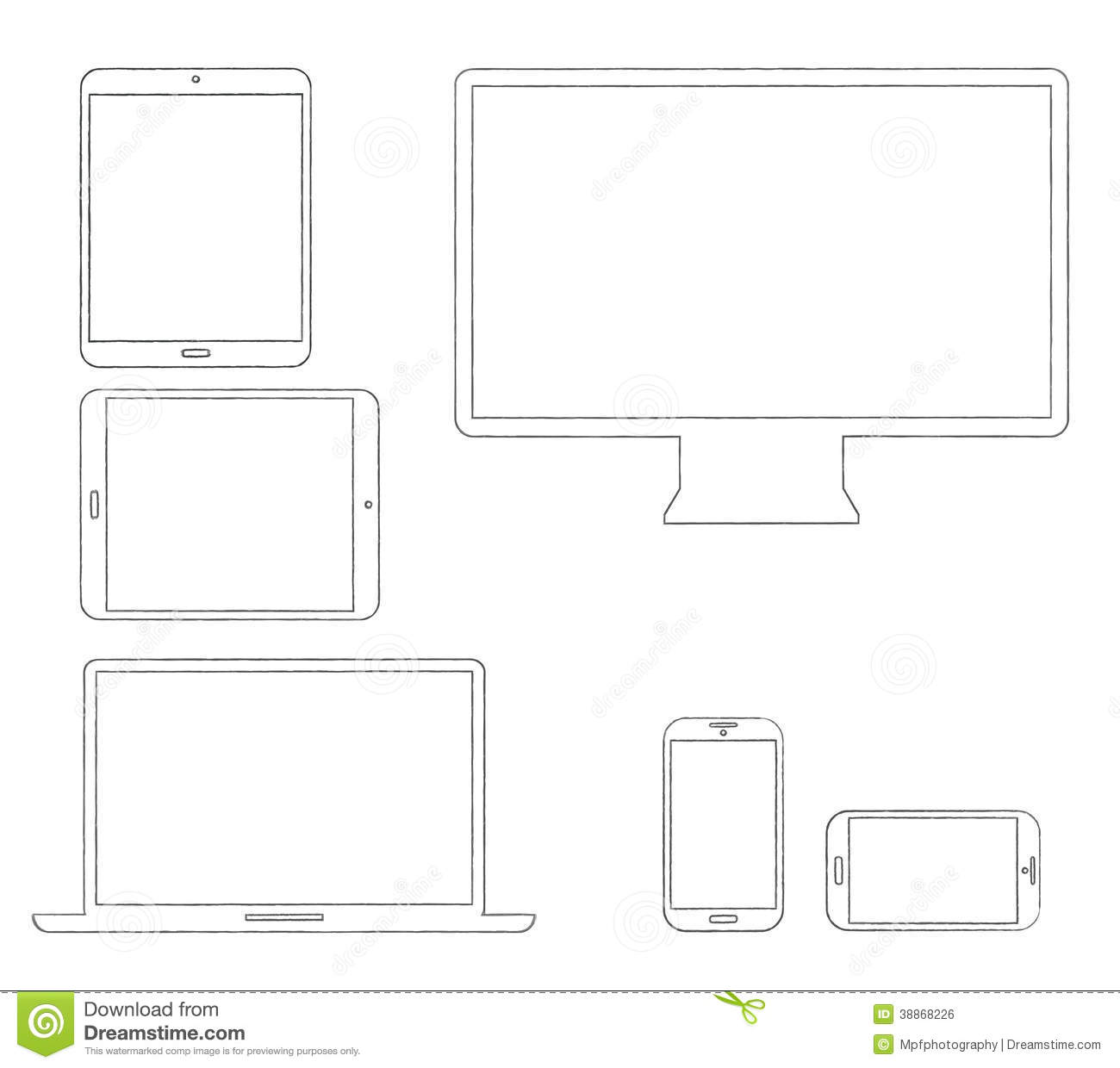 Hand-drawn Outlined Modern Electronic Devices Stock Vector