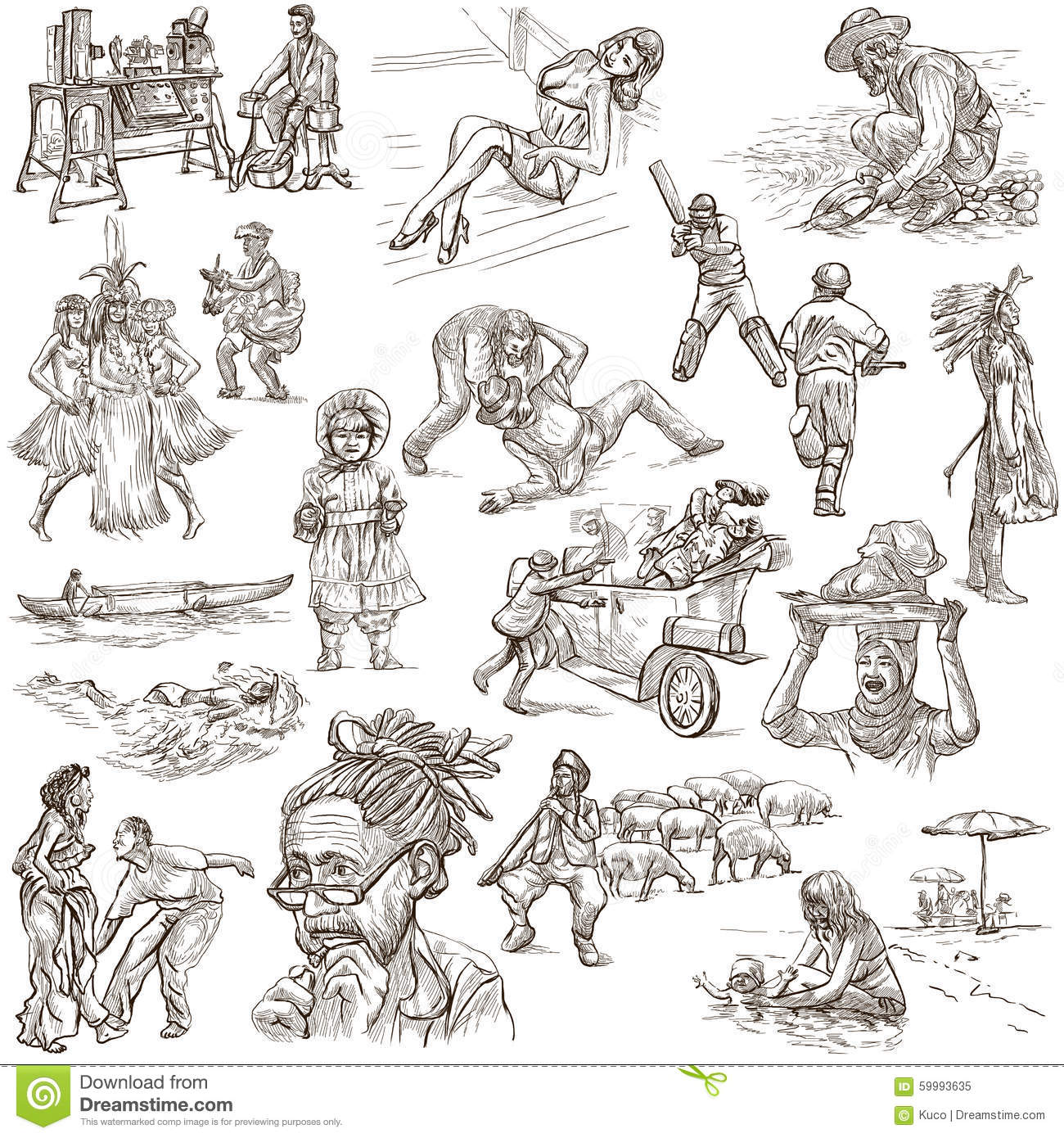 Line Art Person : An hand drawn pack line art people stock illustration