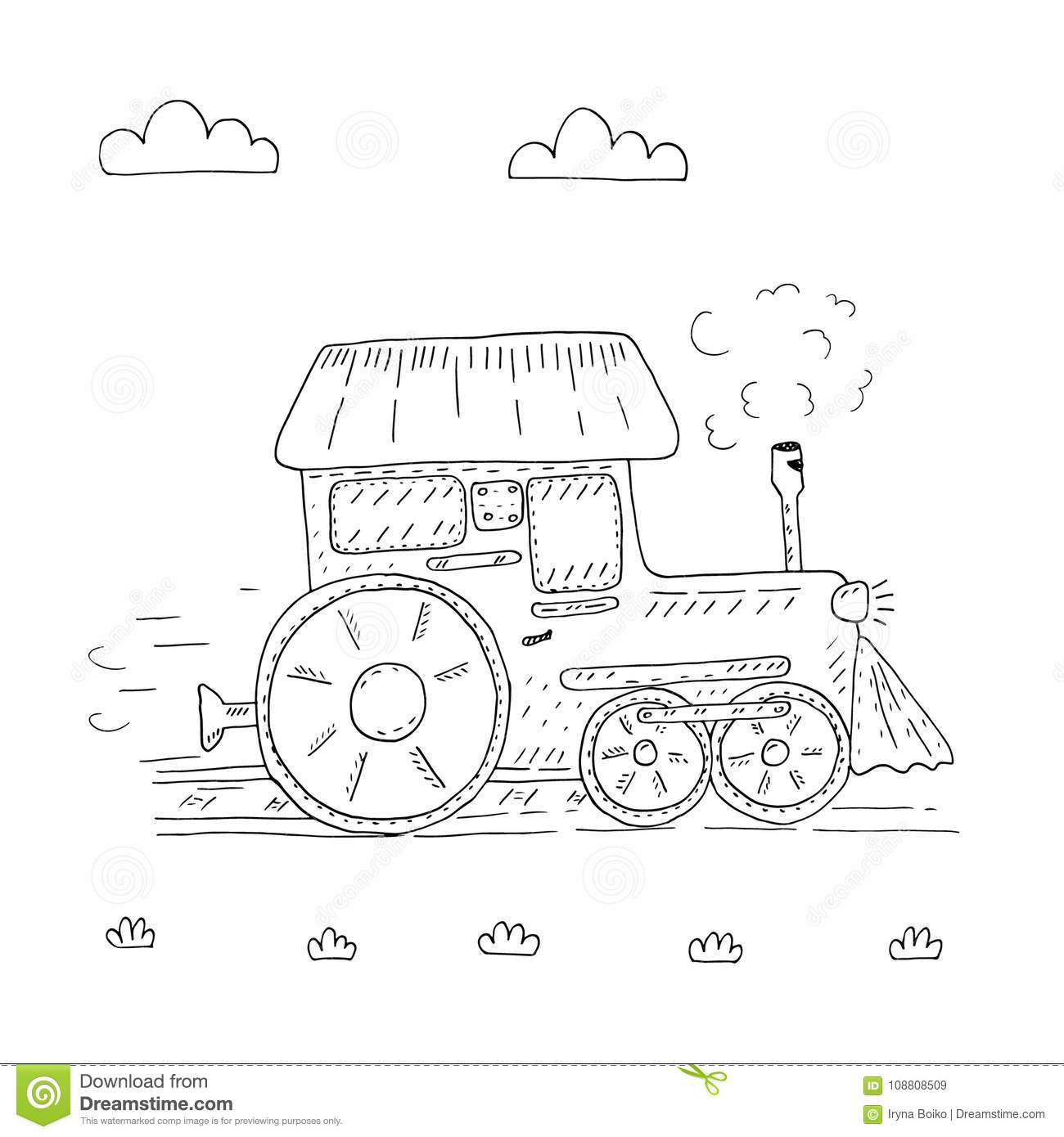 Hand Drawn Page For Coloring Book With Train Cartoon Vector ...