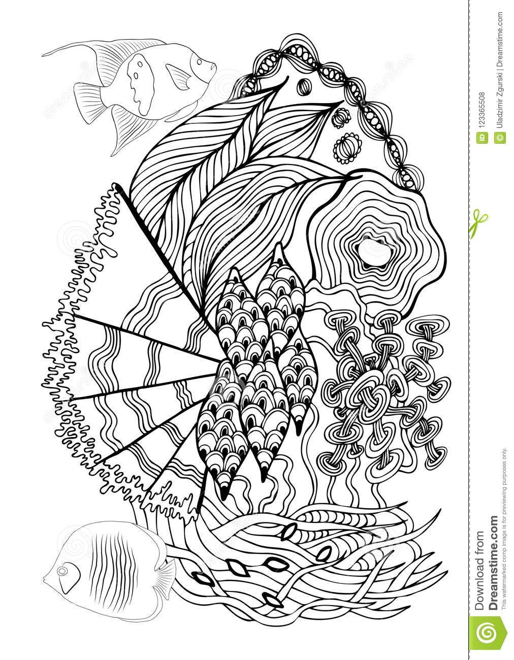 Hand Drawn Page In Zendoodle Style For Adult Coloring Book ...