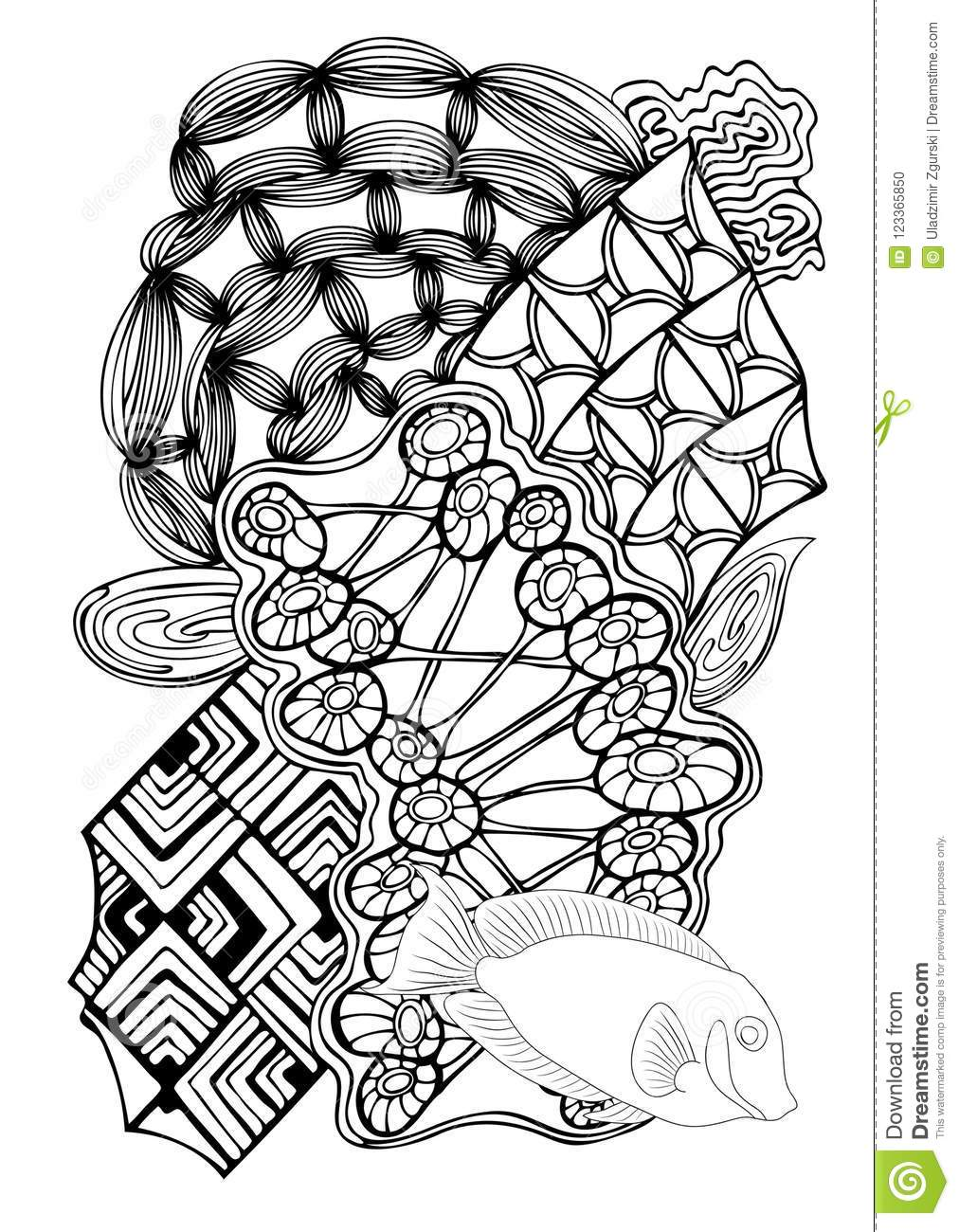 Hand Drawn Page In Zendoodle Style For Adult Coloring Book Abst