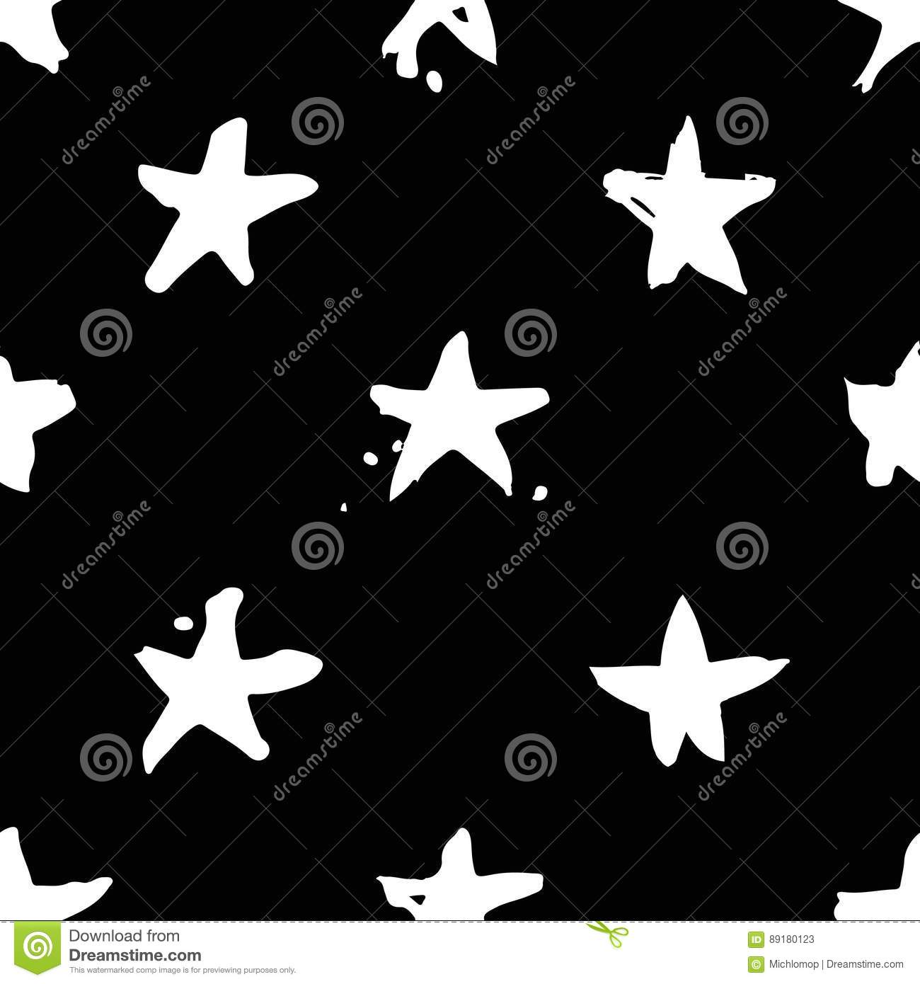 Hand Drawn Paint Seamless Pattern Black And White Stars Background