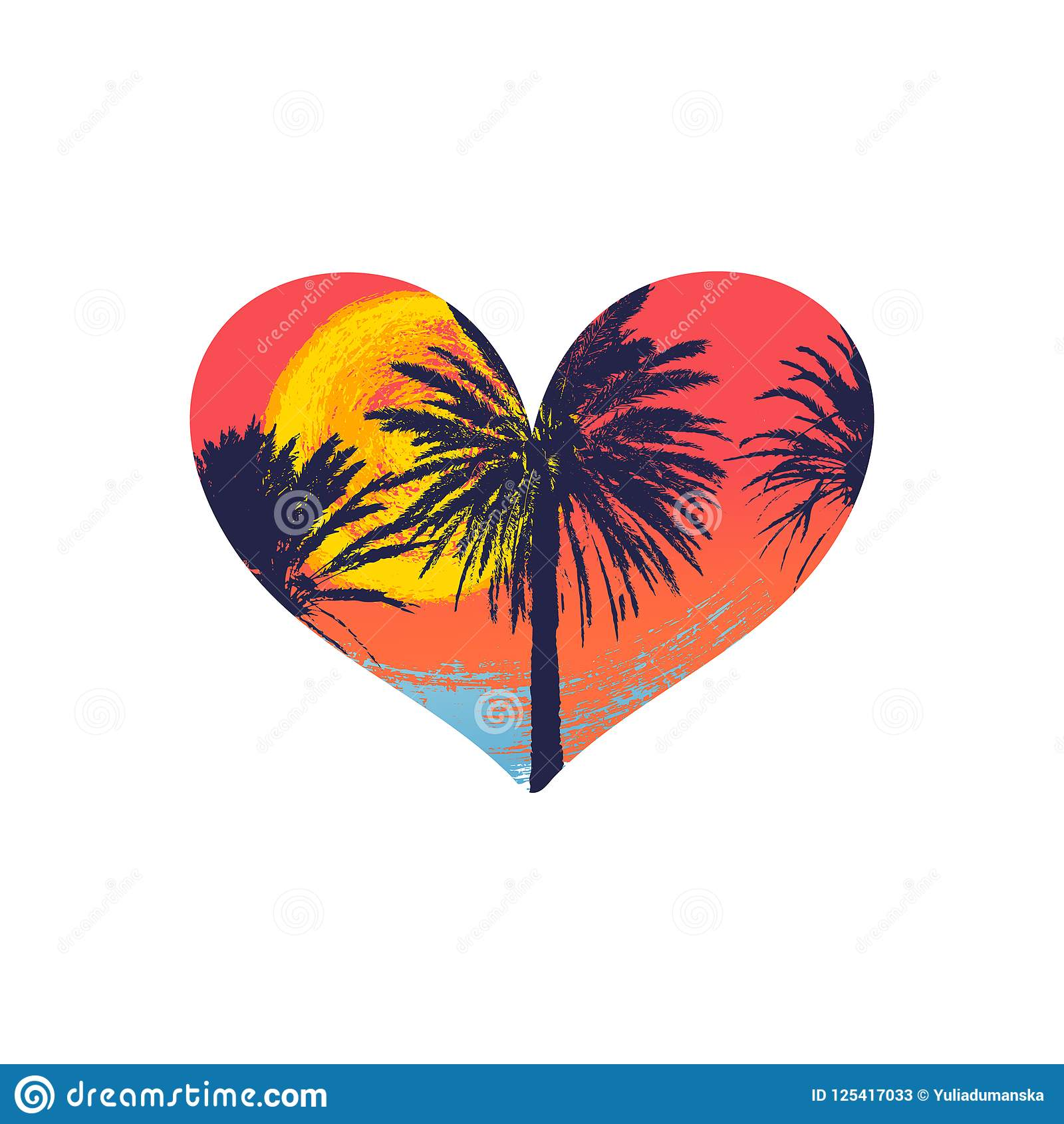 Hand Drawn Palm Trees With A Heart Shape For T Shirt Design Stock Vector Illustration Of Logo Summer 125417033
