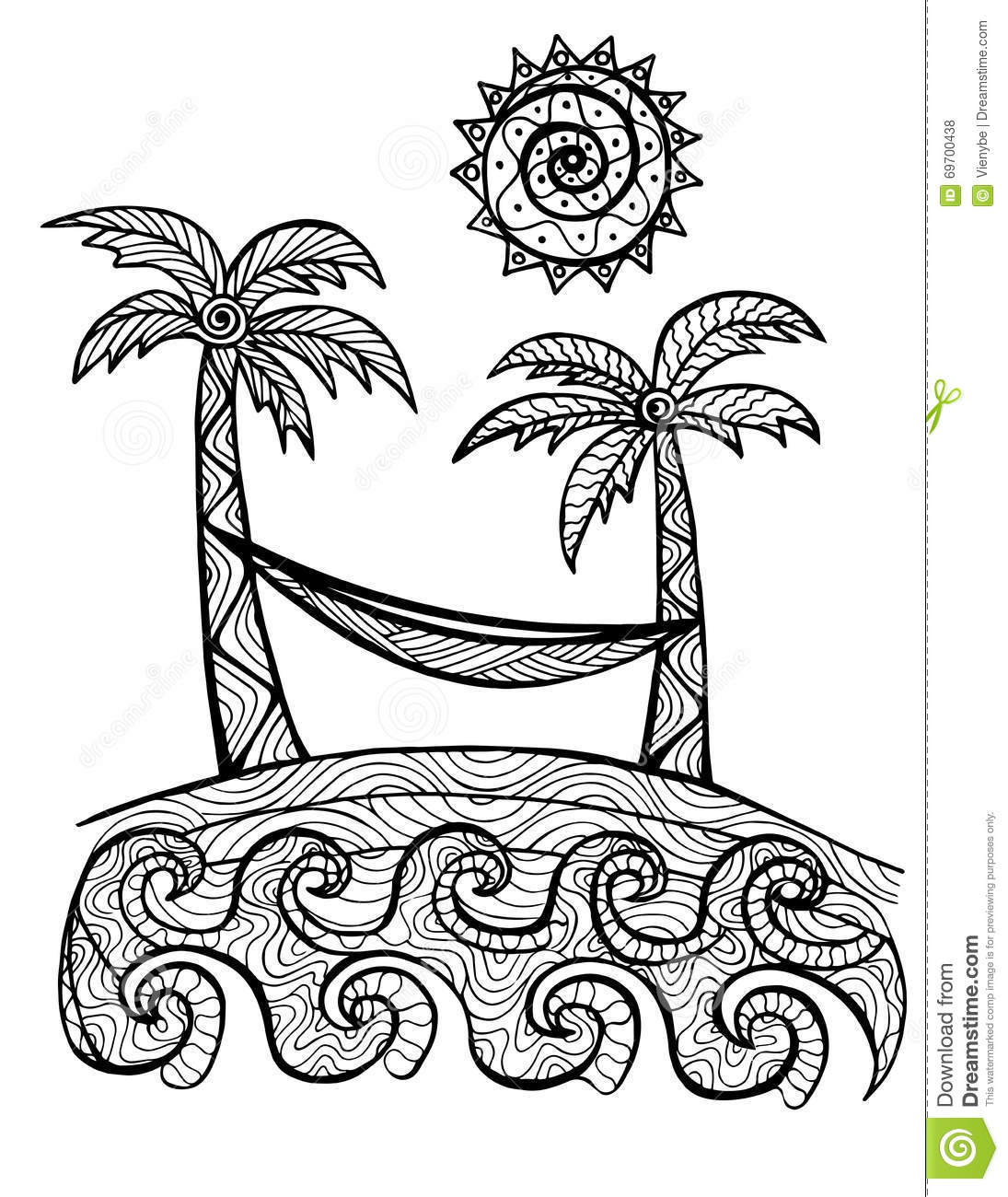 Hand Drawn Palm Trees Illustration For Coloring Book Stock