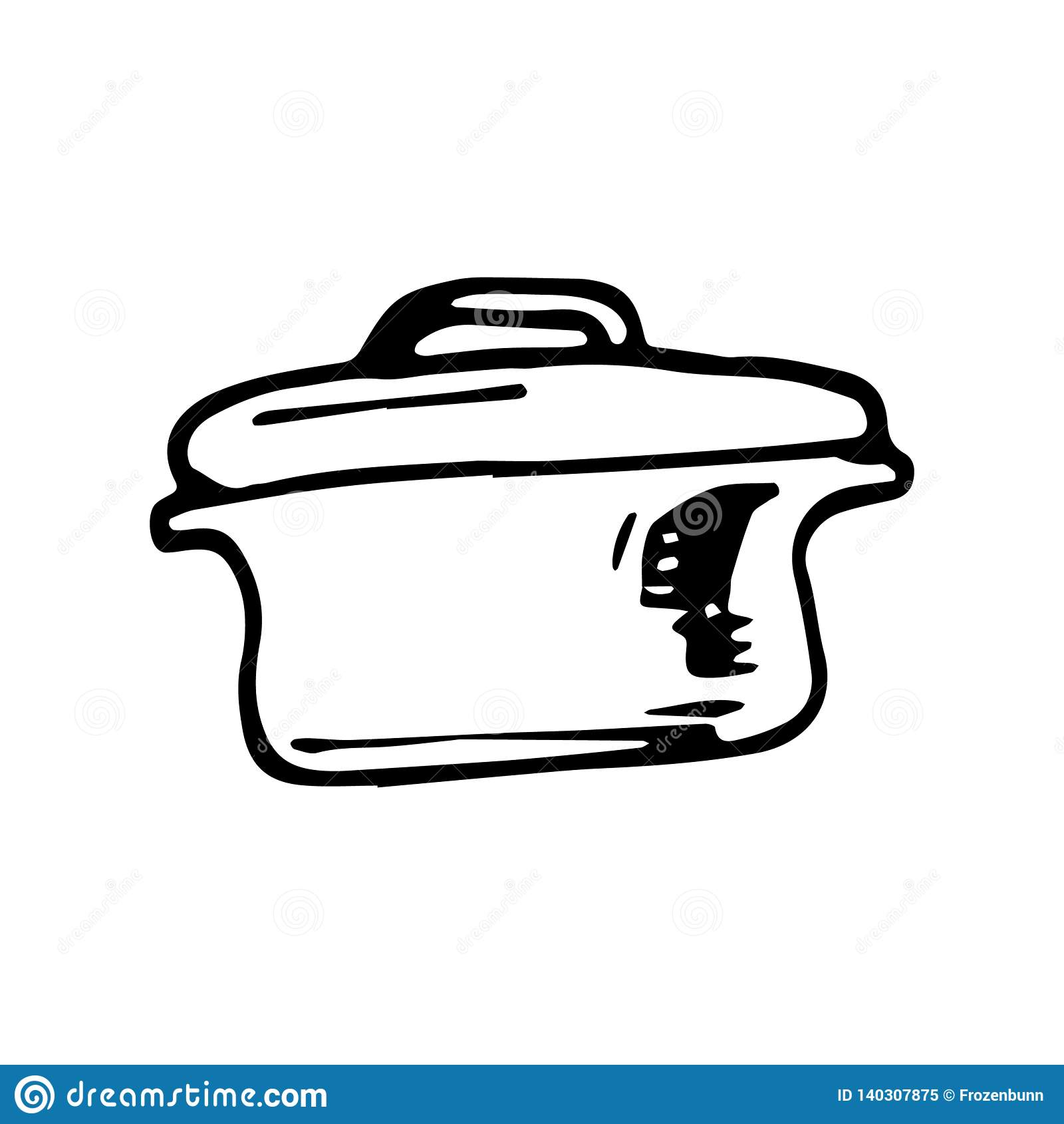 Hand Drawn pan doodle. Sketch style icon. Decoration element. Isolated on white background. Flat design. Vector illustration