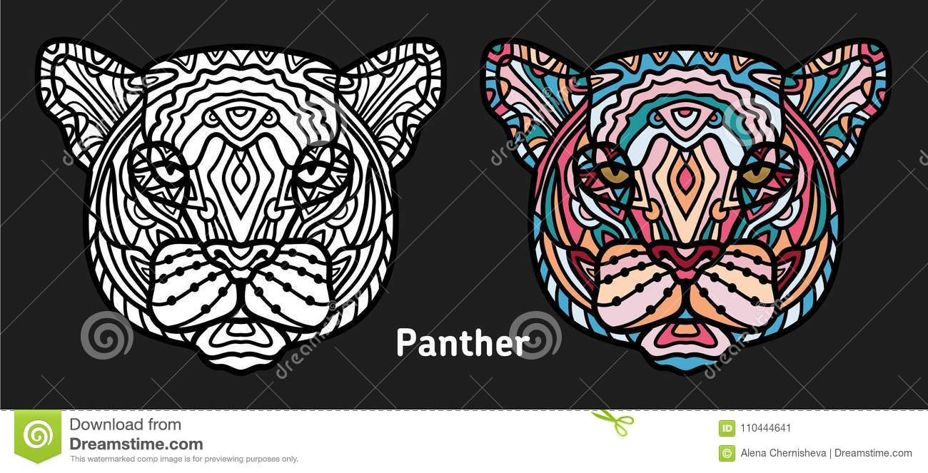 Download Hand Drawn Panther With Ethnic Doodle Pattern Coloring Page