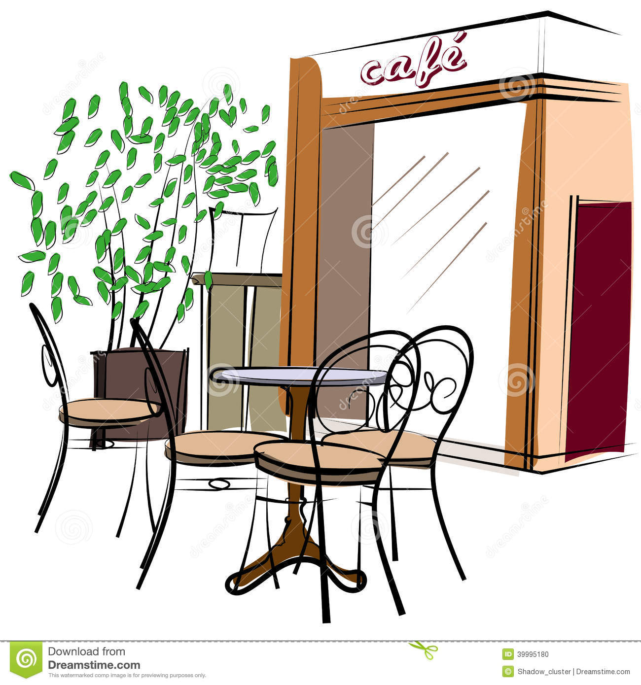 Hand Drawn Paris Cafe Stock Vector Image 39995180