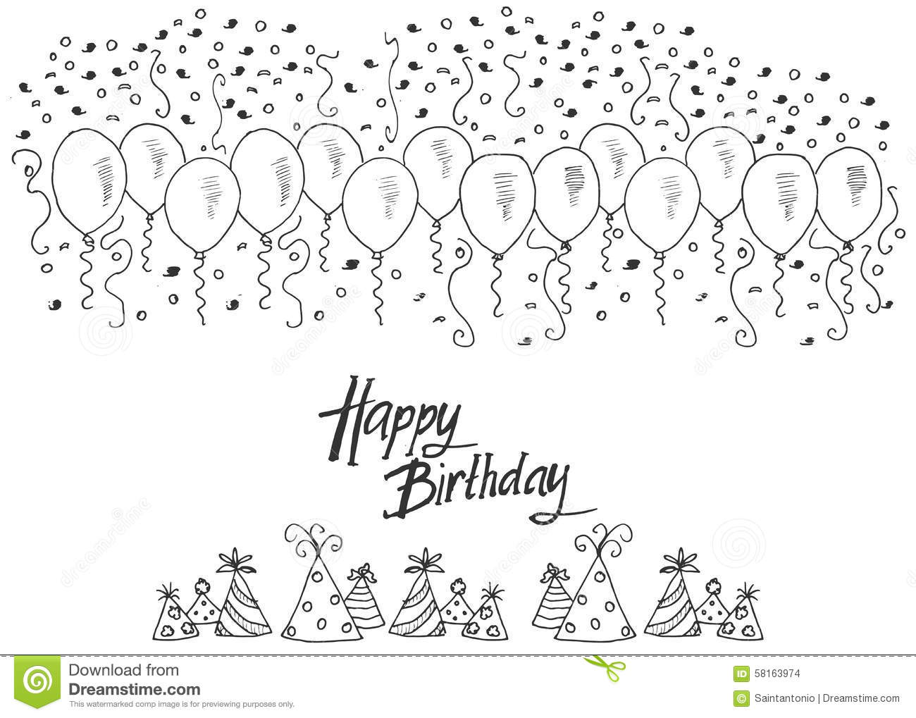 besides Drawingshandlettering together with Sailor Hat Anchor Symbol Drawing 1220115 further Stock Illustration Hand Drawn Party Background Balloons Confetti Party Hats Hand Writen Lettering Text Happy Birthday Isolated White Image58163974 as well Coloring Birthday Cake. on happy birthday doodle