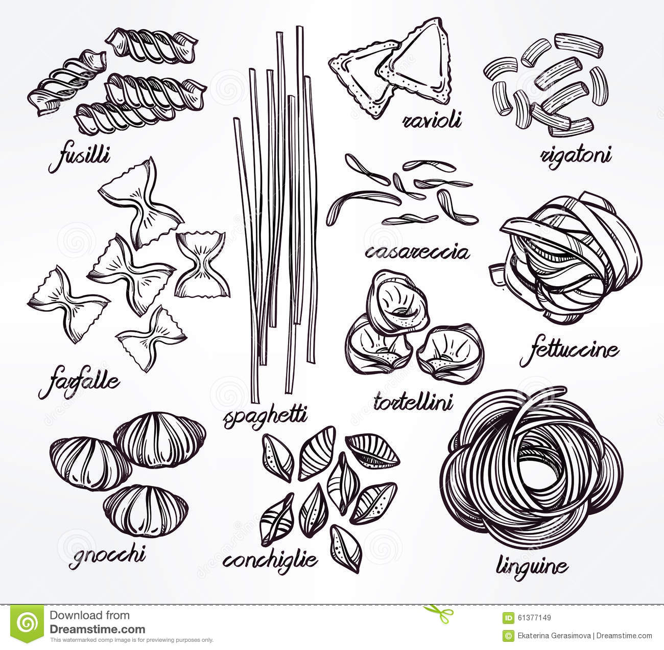 Vector Drawing Lines Worksheets : Hand drawn pasta variations set stock vector