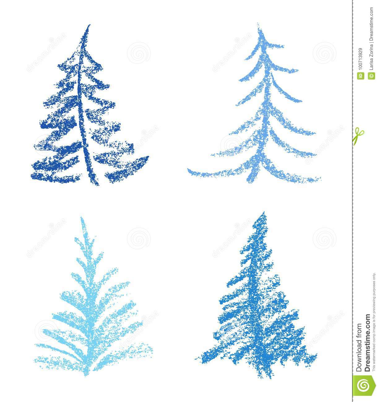 Color Christmas Pictures To Draw.Crayon Like Child S Drawing Style Of Merry Christmas Tree