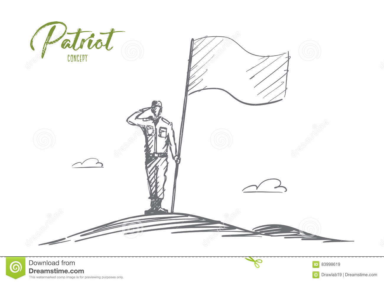Hand drawn patriot soldier standing with flag