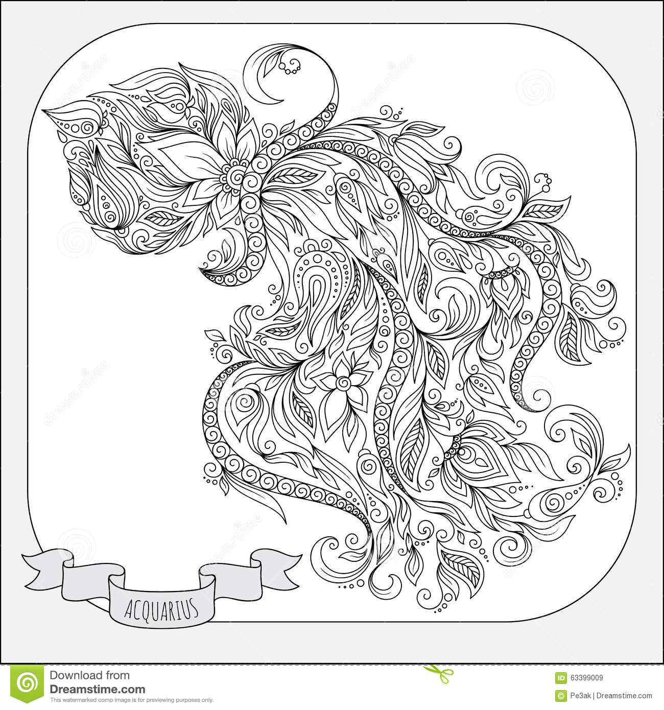 Zodiac Line Drawing : Hand drawn pattern for coloring book zodiac aquarius