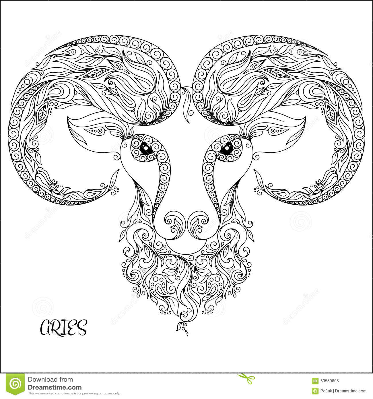 Zodiac Line Drawing : Hand drawn pattern for coloring book zodiac aries stock