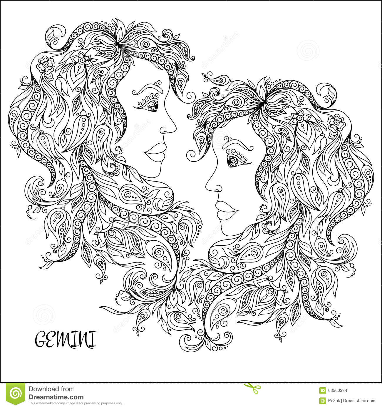 zodiac coloring pages - art gemini stock image 10064377
