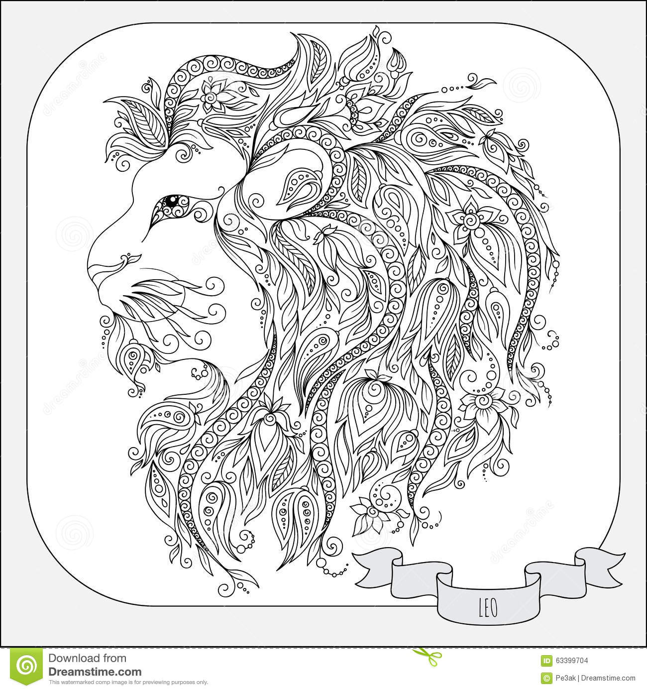 Hand drawn pattern for coloring book zodiac leo stock for Leo coloring pages