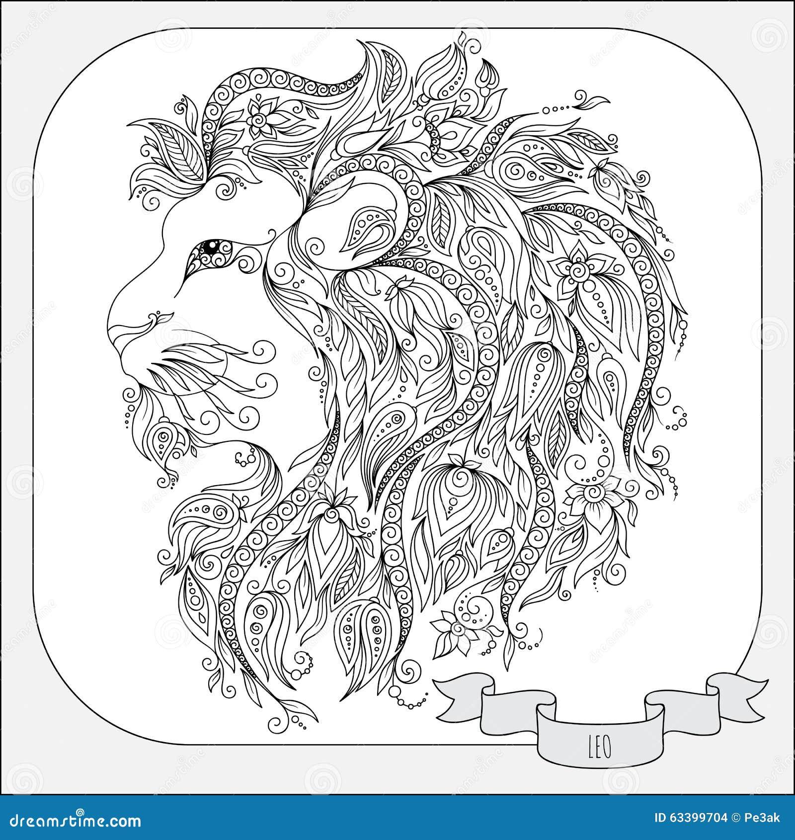 pattern for coloring book zodiac leo stock
