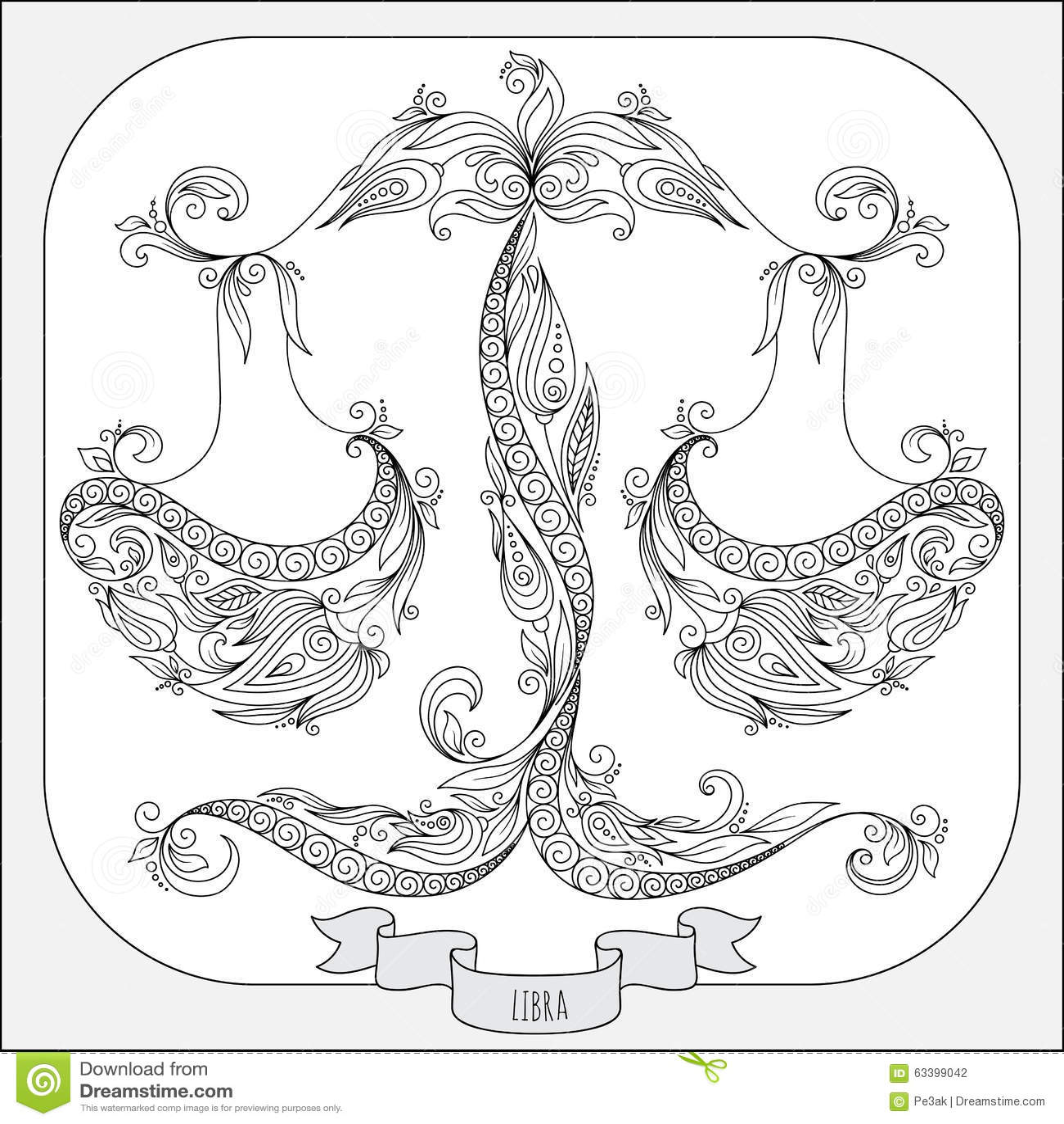 Hand Drawn Pattern For Coloring Book Zodiac Libra Stock