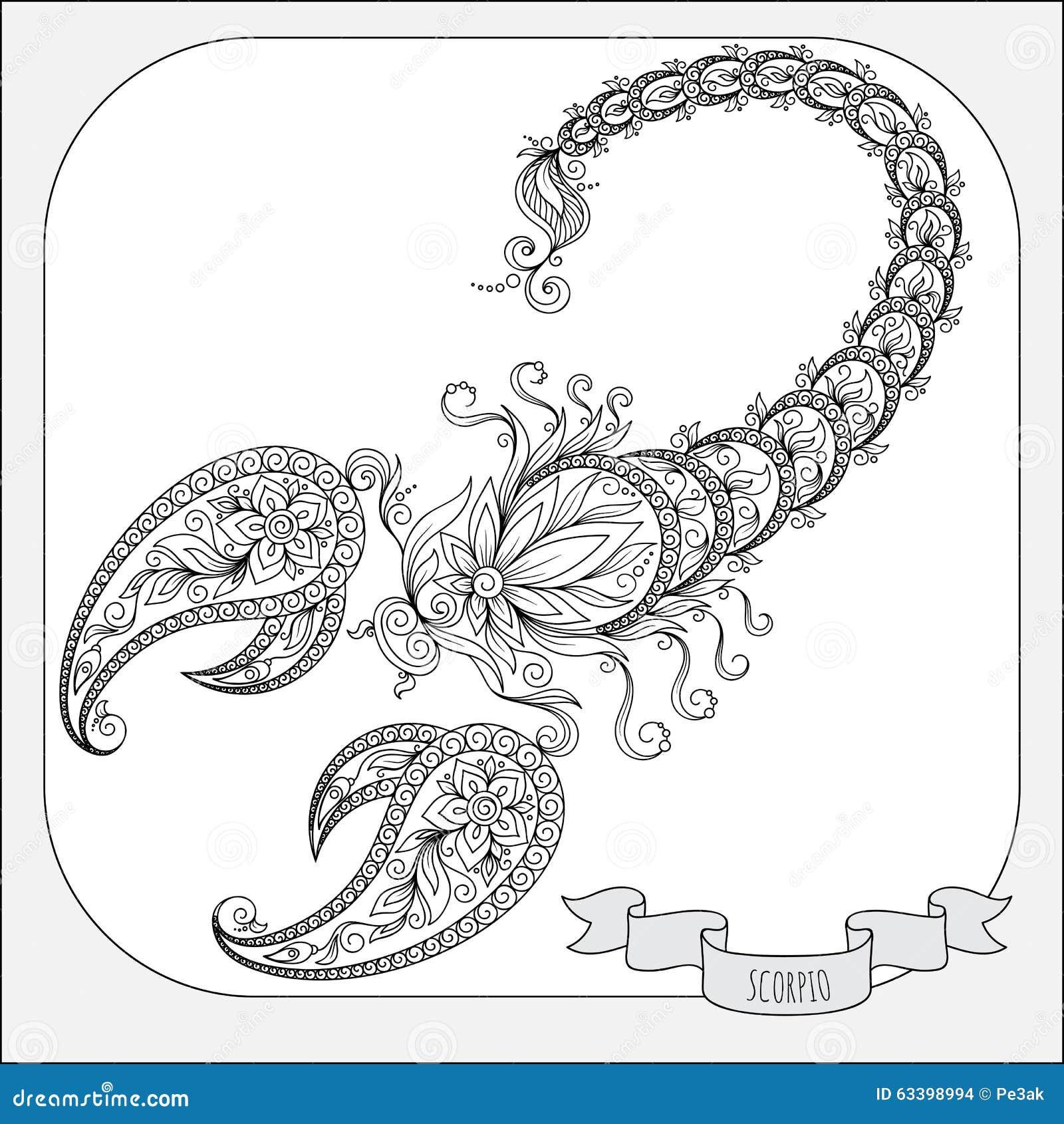 Zodiac Line Art : Hand drawn pattern for coloring book zodiac scorpio stock