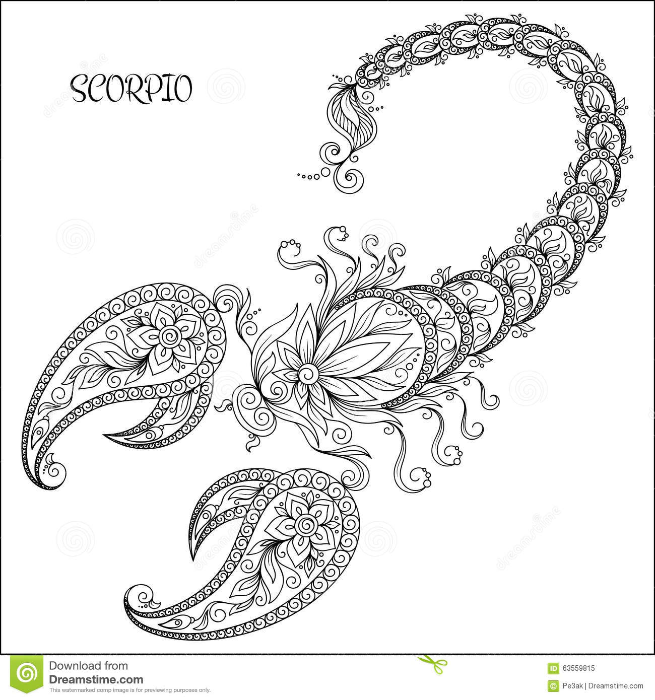 Zodiac Line Drawing : Hand drawn pattern for coloring book zodiac scorpio stock