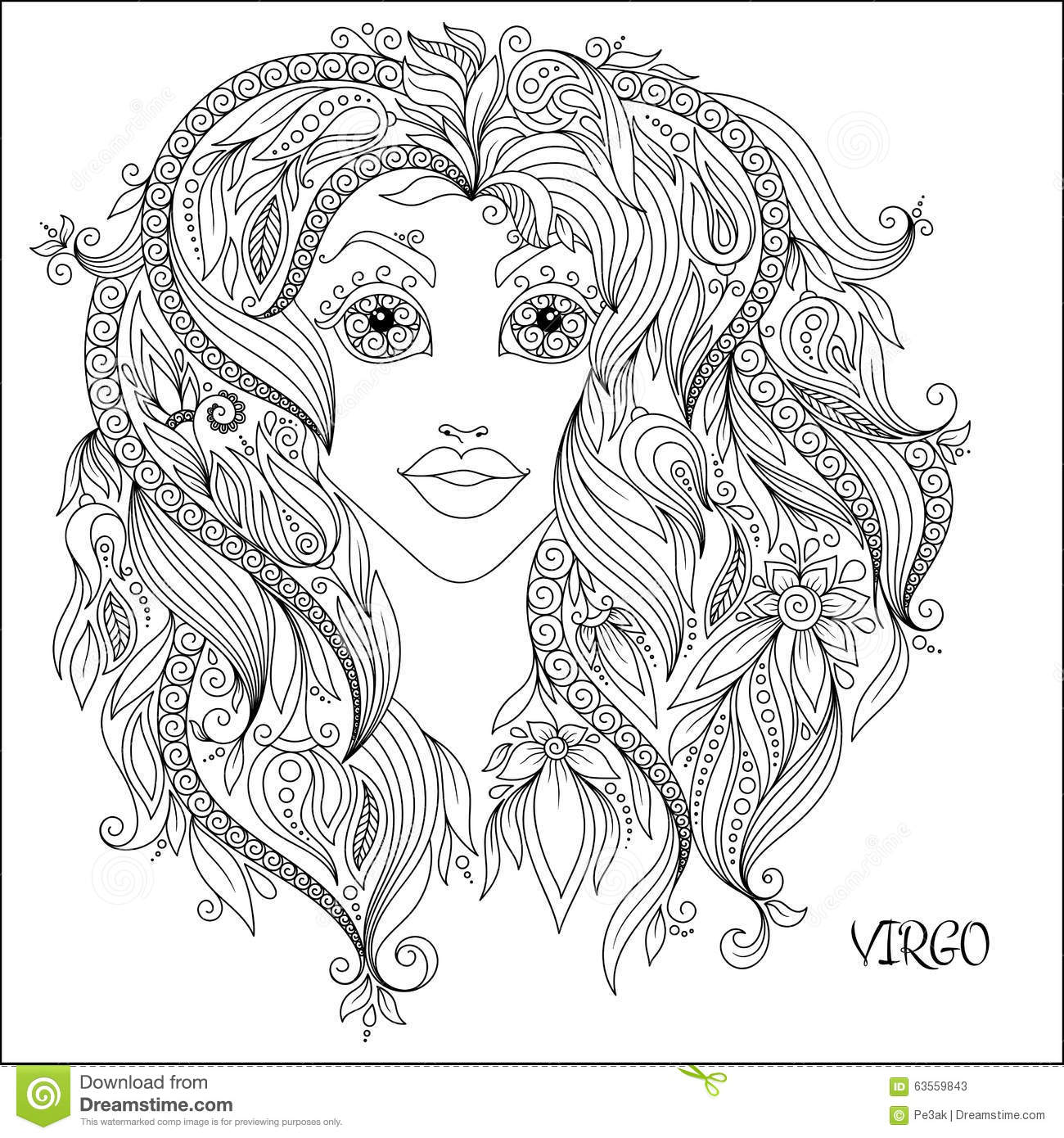 Hand Drawn Pattern For Coloring Book Zodiac Virgo Stock
