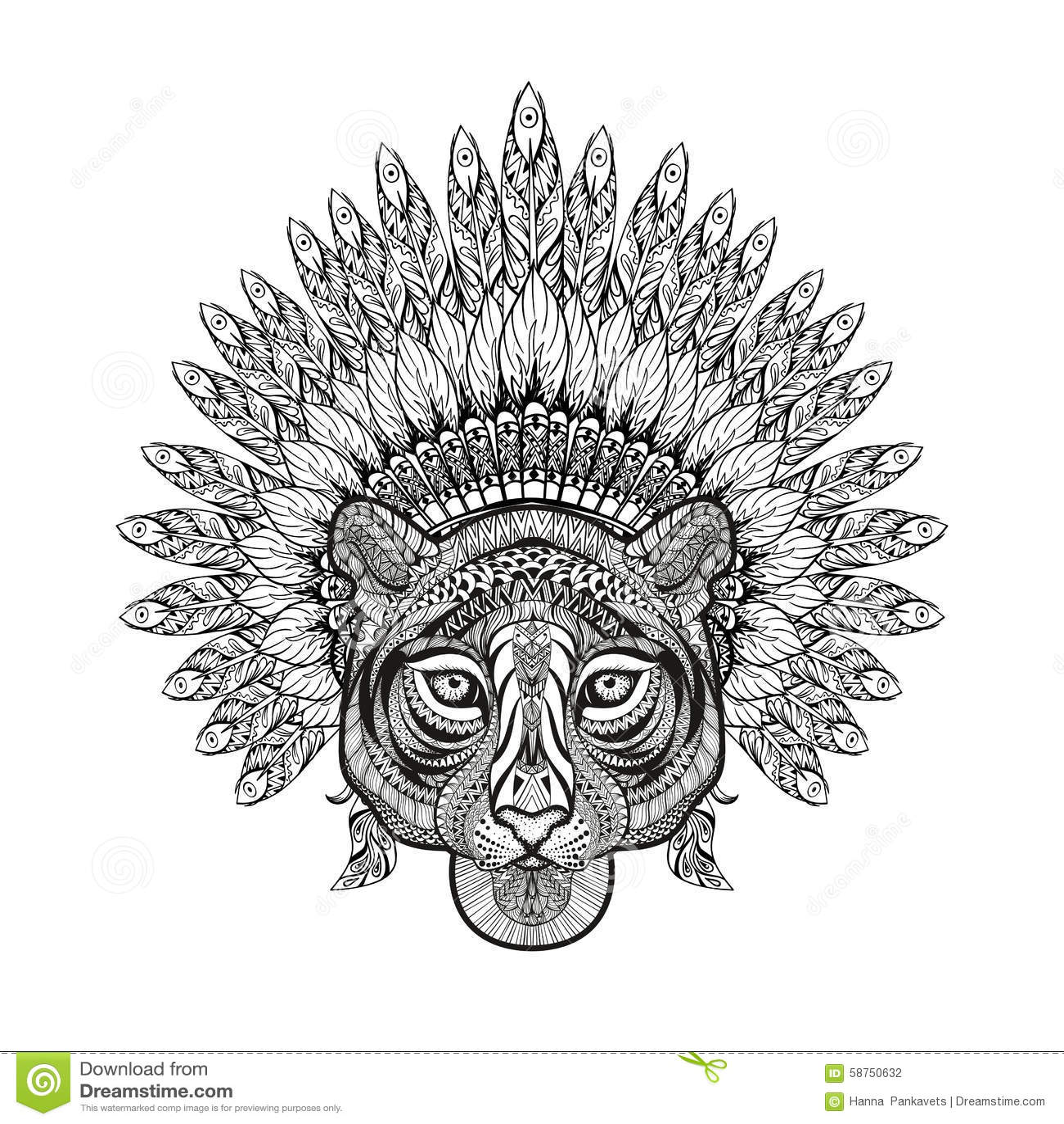 Mandala tiger royalty free stock photo 86990451 - Tigre mandala ...