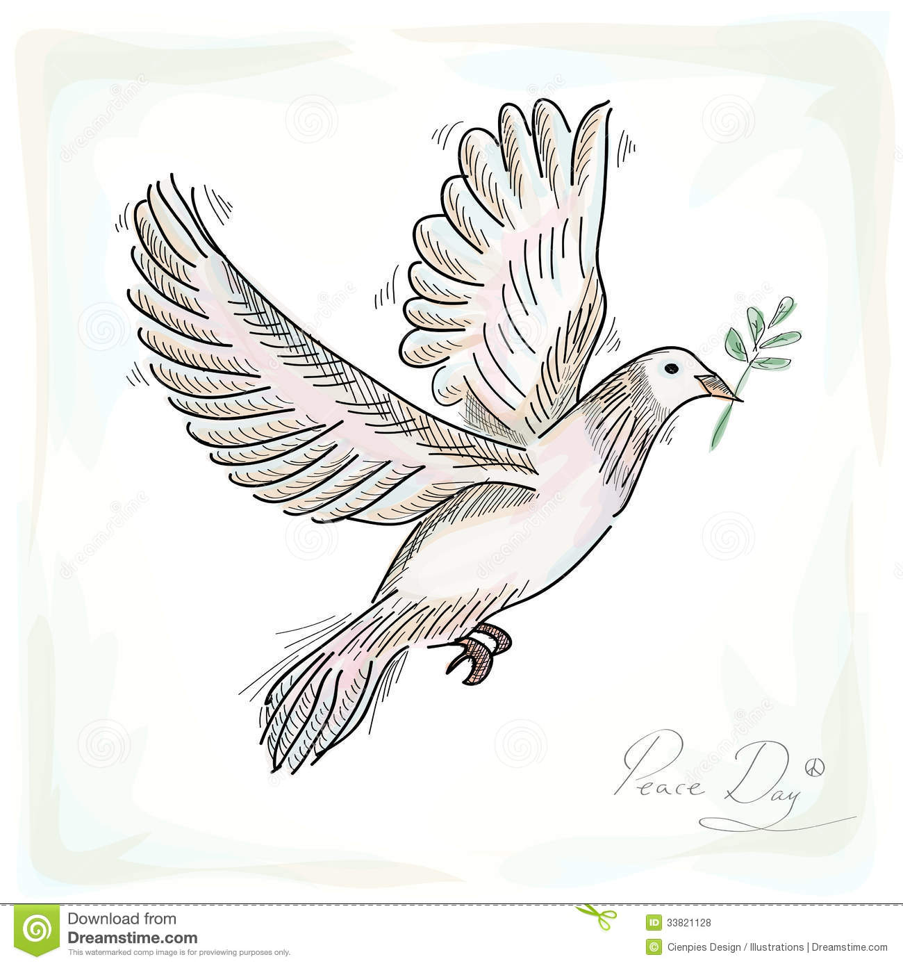 Hand Drawn Peace Dove Symbol With Texture Background Eps10 File