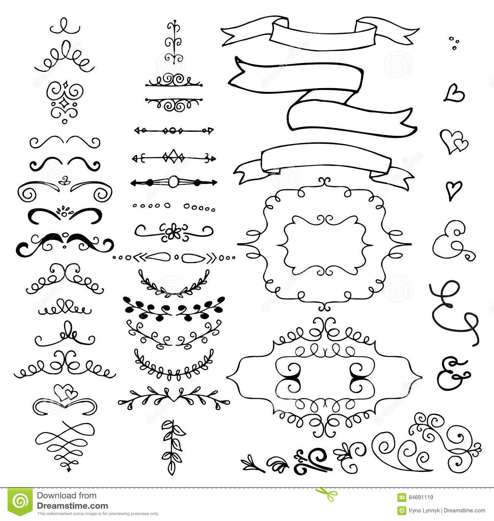 Hand drawn pencil border frames ribbon sketch design concept set borders isolated