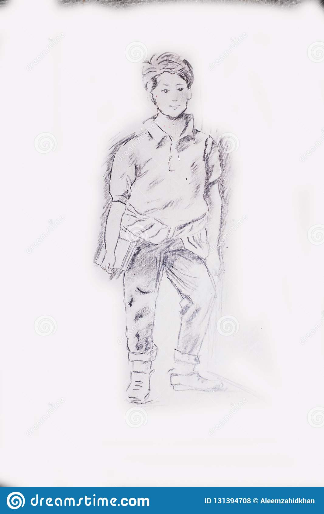 Pencil drawing of a young student boy standing next to a wall stock