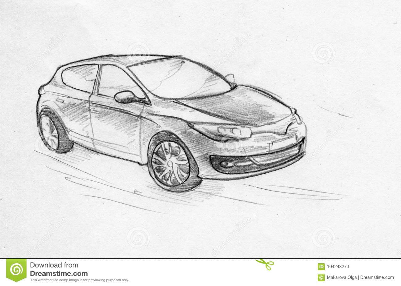 Hand drawn pencil sketch illustration of a moving car on the road