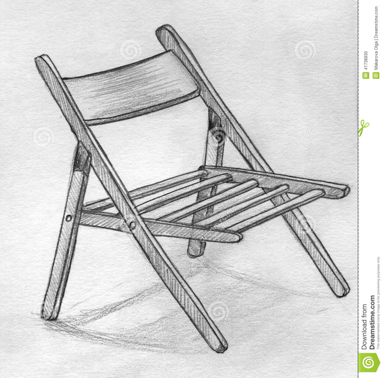 Hand Drawn Pencil Sketch Of A Folding Chair Stock