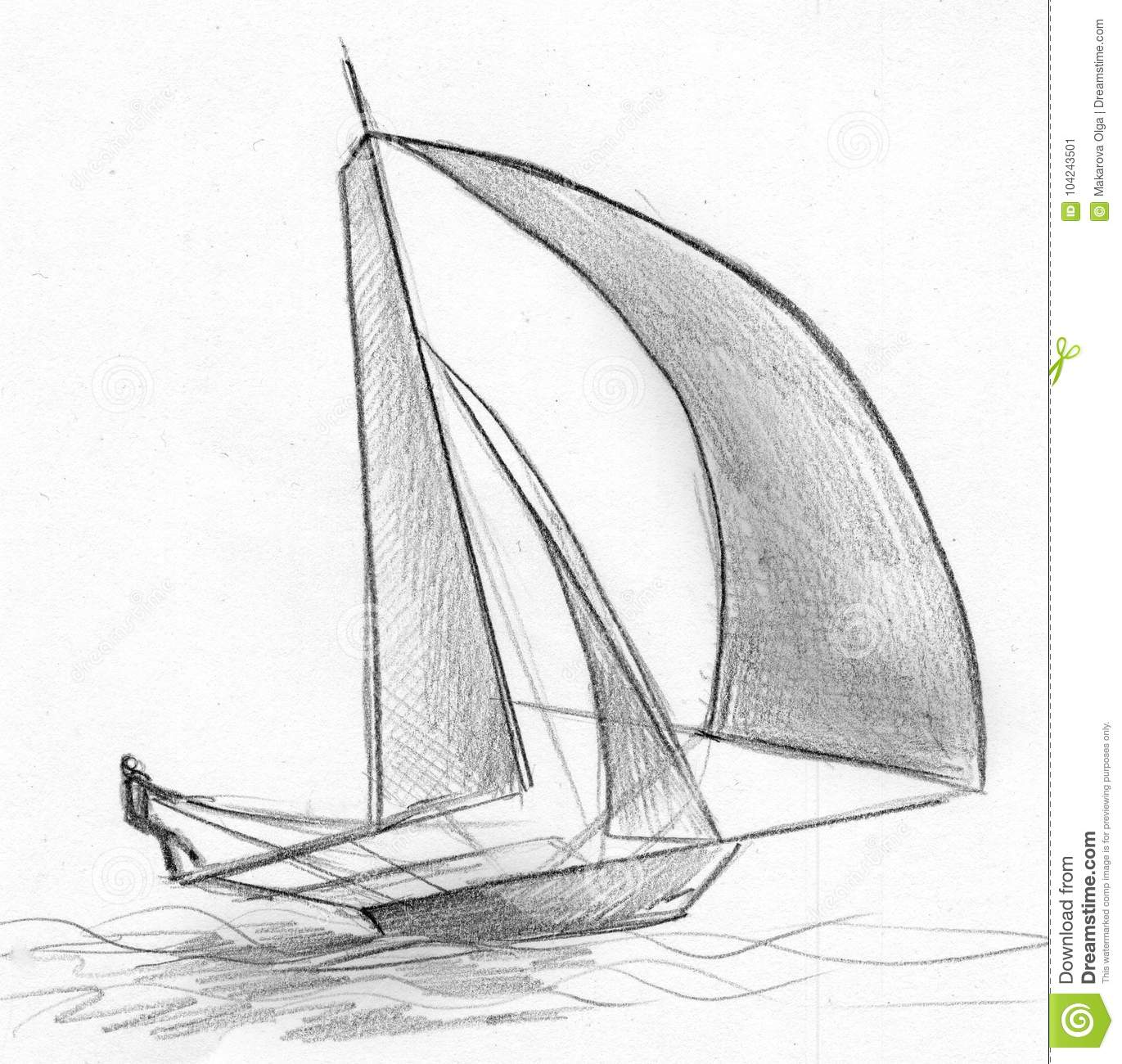 Hand drawn pencil sketch of a small yacht going forward at full speed and manned by one person