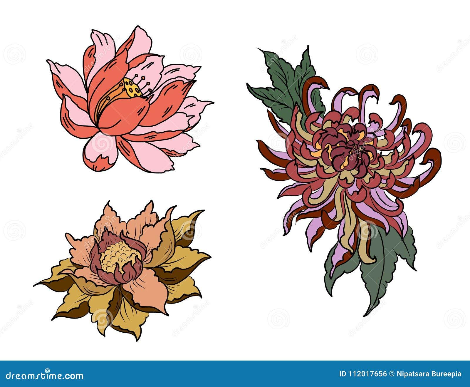 Hand drawn peony flowerlotus and chrysanthemum flower chinese style hand drawn peony flowerlotus and chrysanthemum flower chinese style vector artinese tattoo design pink peony flower garden decoration izmirmasajfo