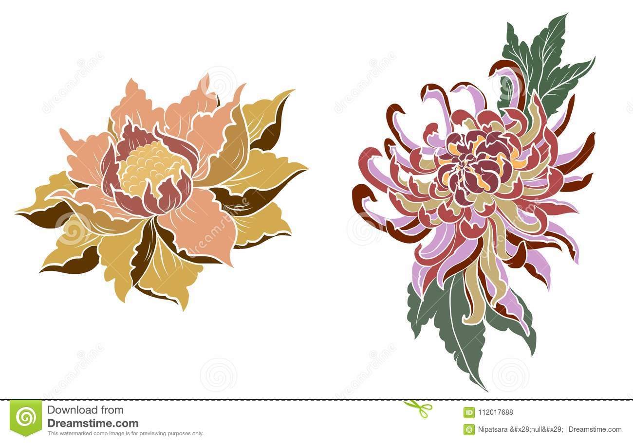 Hand Drawn Peony Flowerlotus And Chrysanthemum Flower Chinese Style