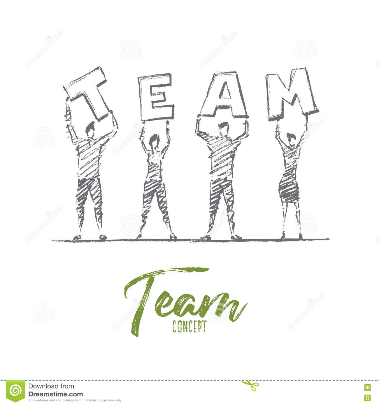 Hand Drawn People Holding Letters Of TEAM Word Stock Vector