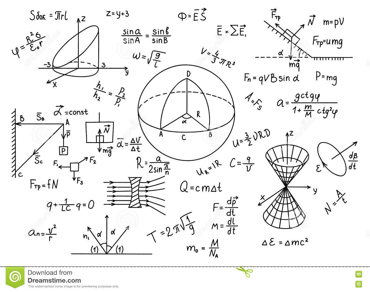 Hand Drawn Physics Formulas Science Knowledge Education. Stock ...