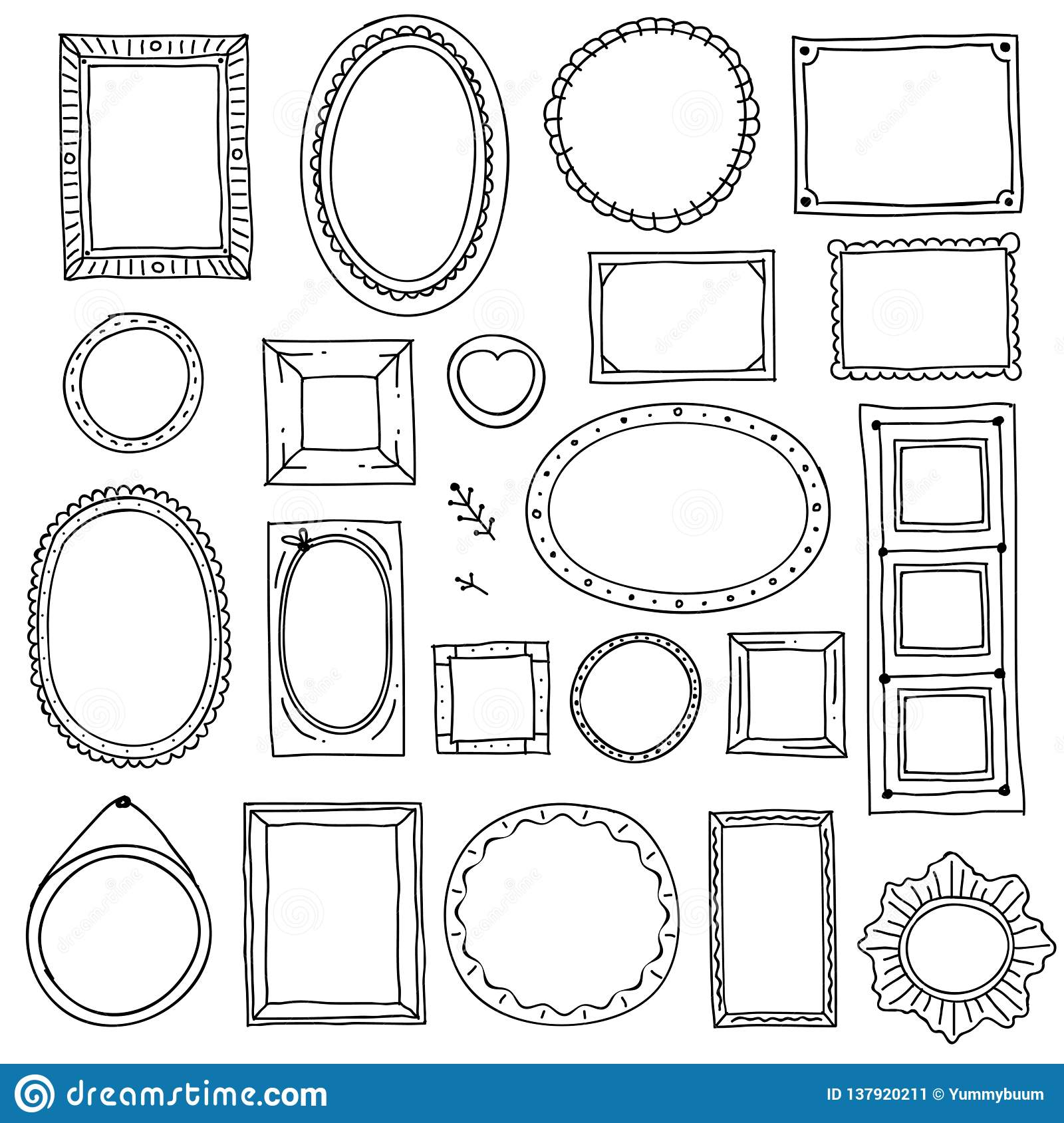 Hand drawn picture frame. Doodle square oval photo frames, scrapbook scribble borders vector sketch isolated set