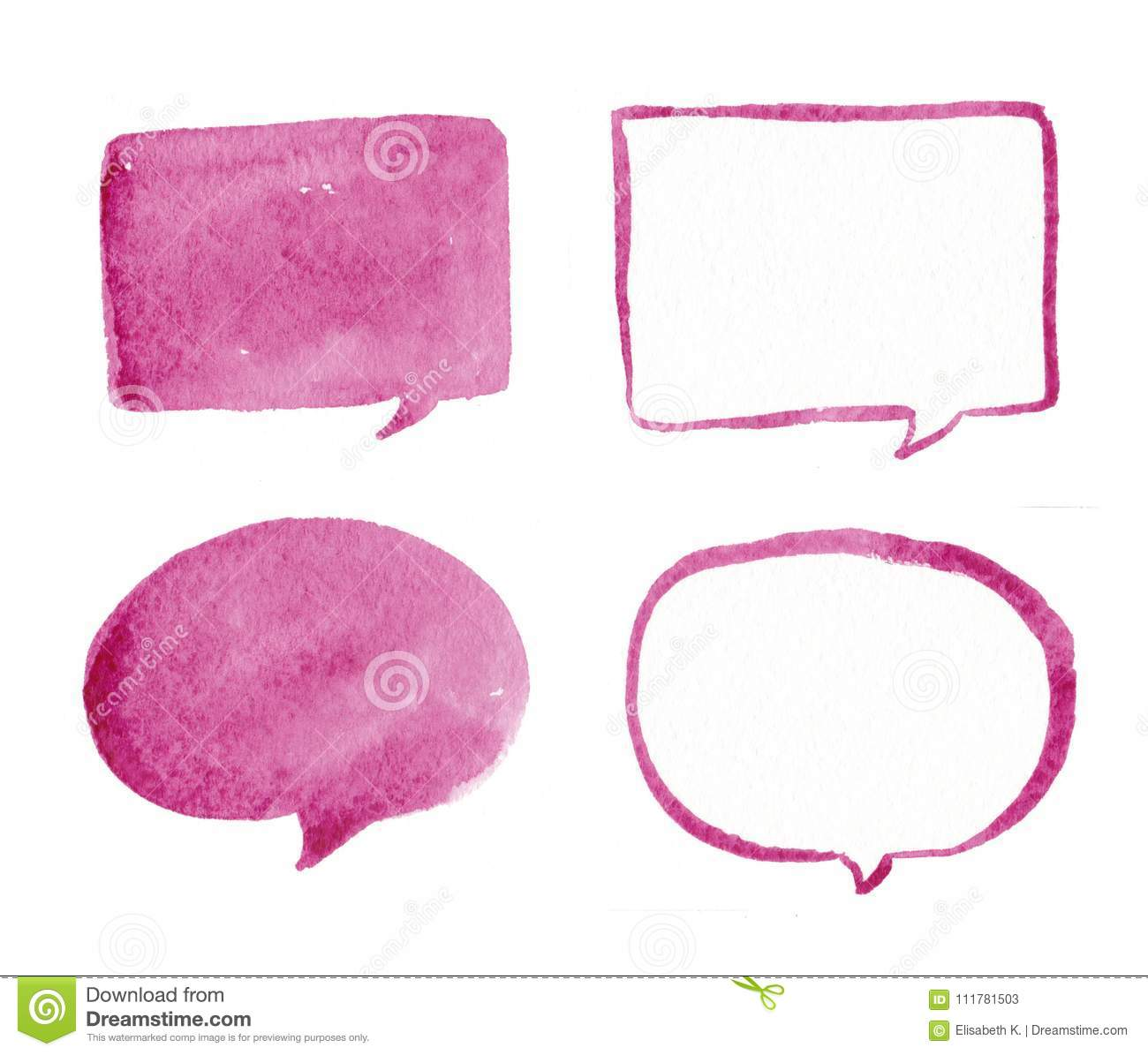Hand drawn pink bubble speech watercolor set, bubble watercolor. Pink bubble