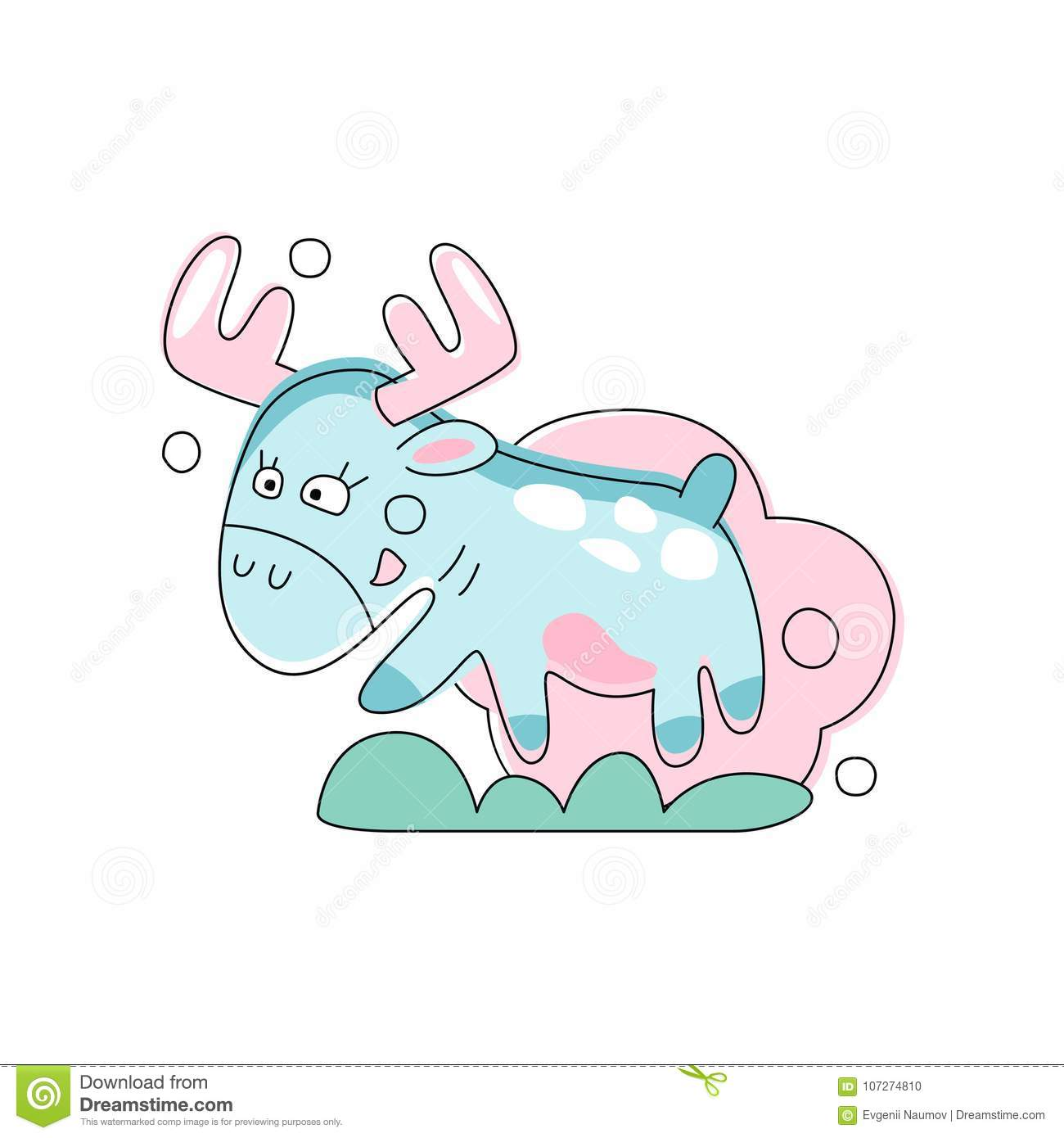 Hand drawn pink moose jumping on green grass. Forest animal in linear style. Concept for children book. Flat vector