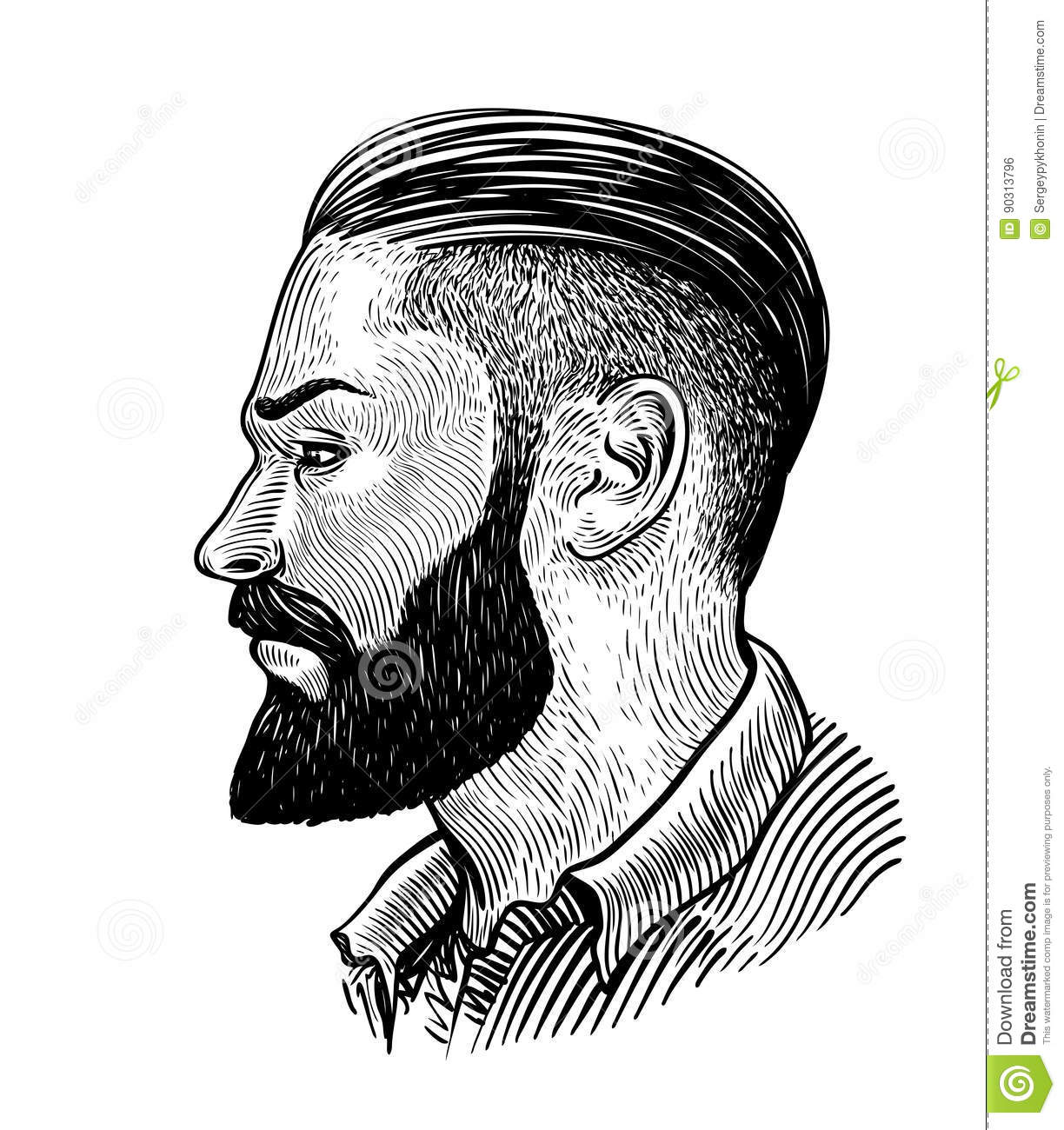 hand drawn portrait of bearded man in profile hipster