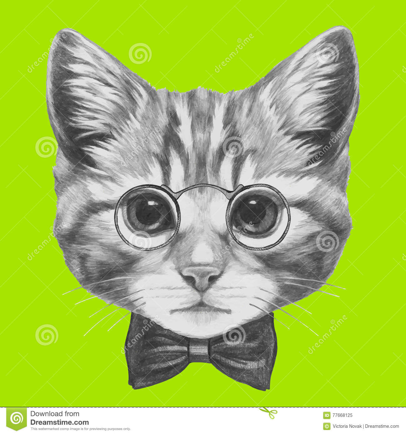 3ffd5cb805e0 Royalty-Free Vector. Hand drawn portrait of Cat with glasses and bow tie.