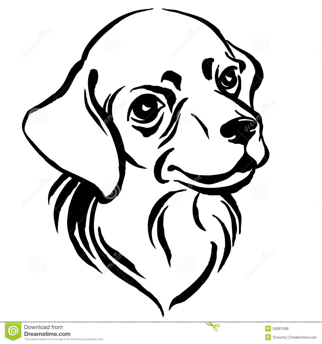 Hand Drawn Portrait Of Dog Labrador Black And White Stock Vector