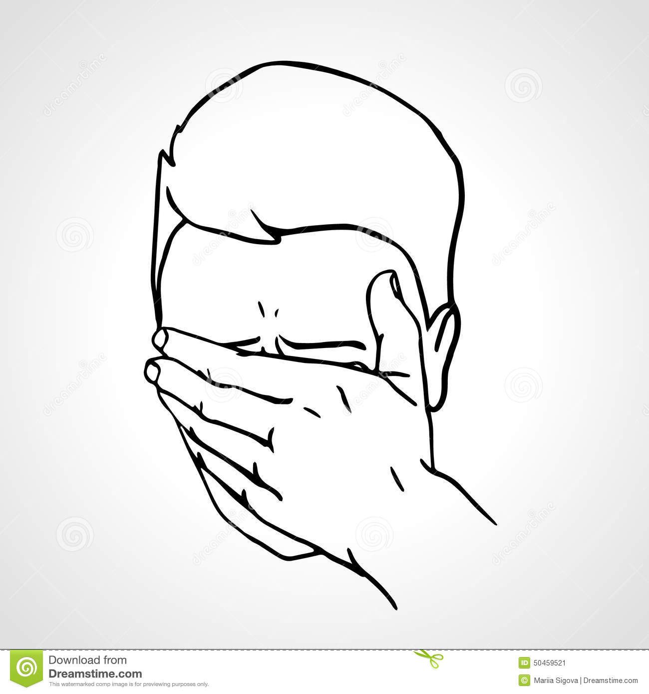 hand drawn portrait of a face palmed guy stock vector