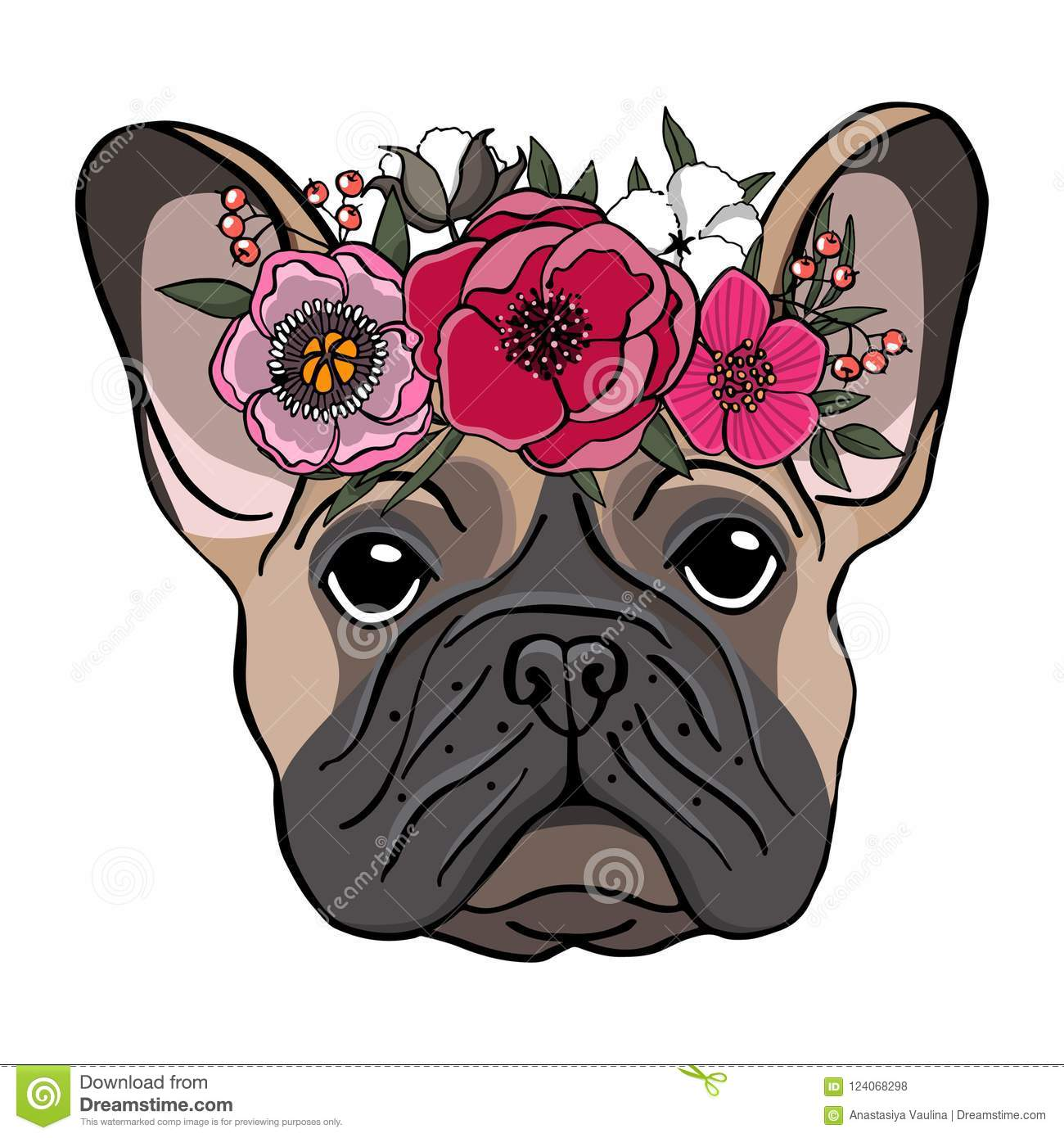 Hand drawn portrait of a french bulldog with wreath of flowers.